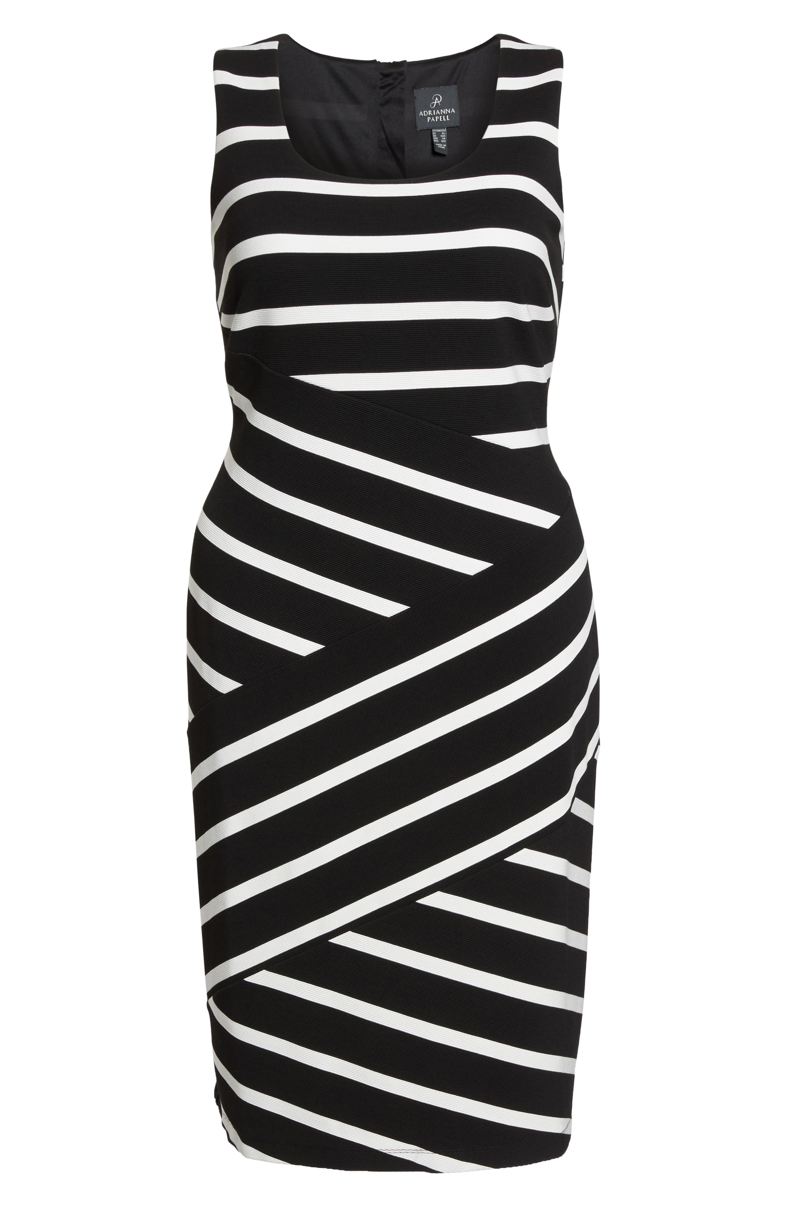 Ottoman Striped Sheath Dress,                             Alternate thumbnail 6, color,                             Black/ Ivory