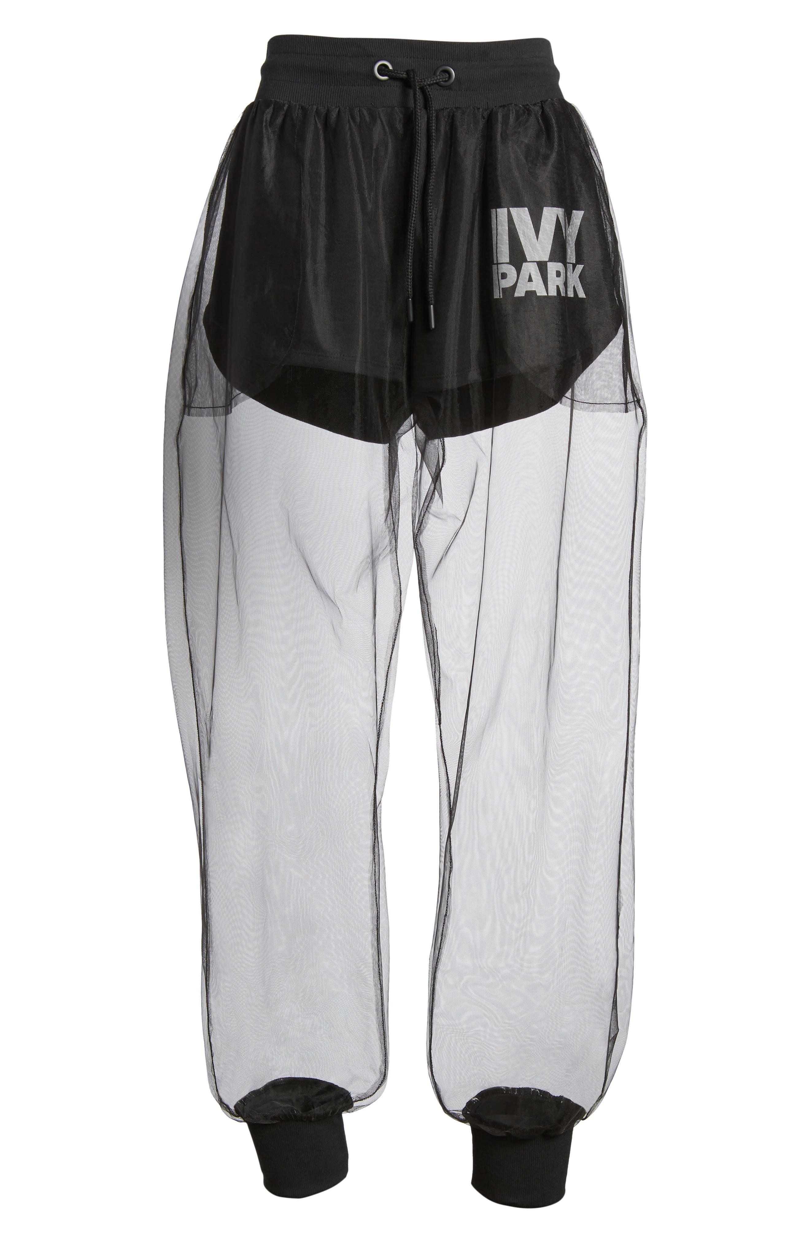 Festival Tulle Jogger Pants,                             Alternate thumbnail 7, color,                             Black