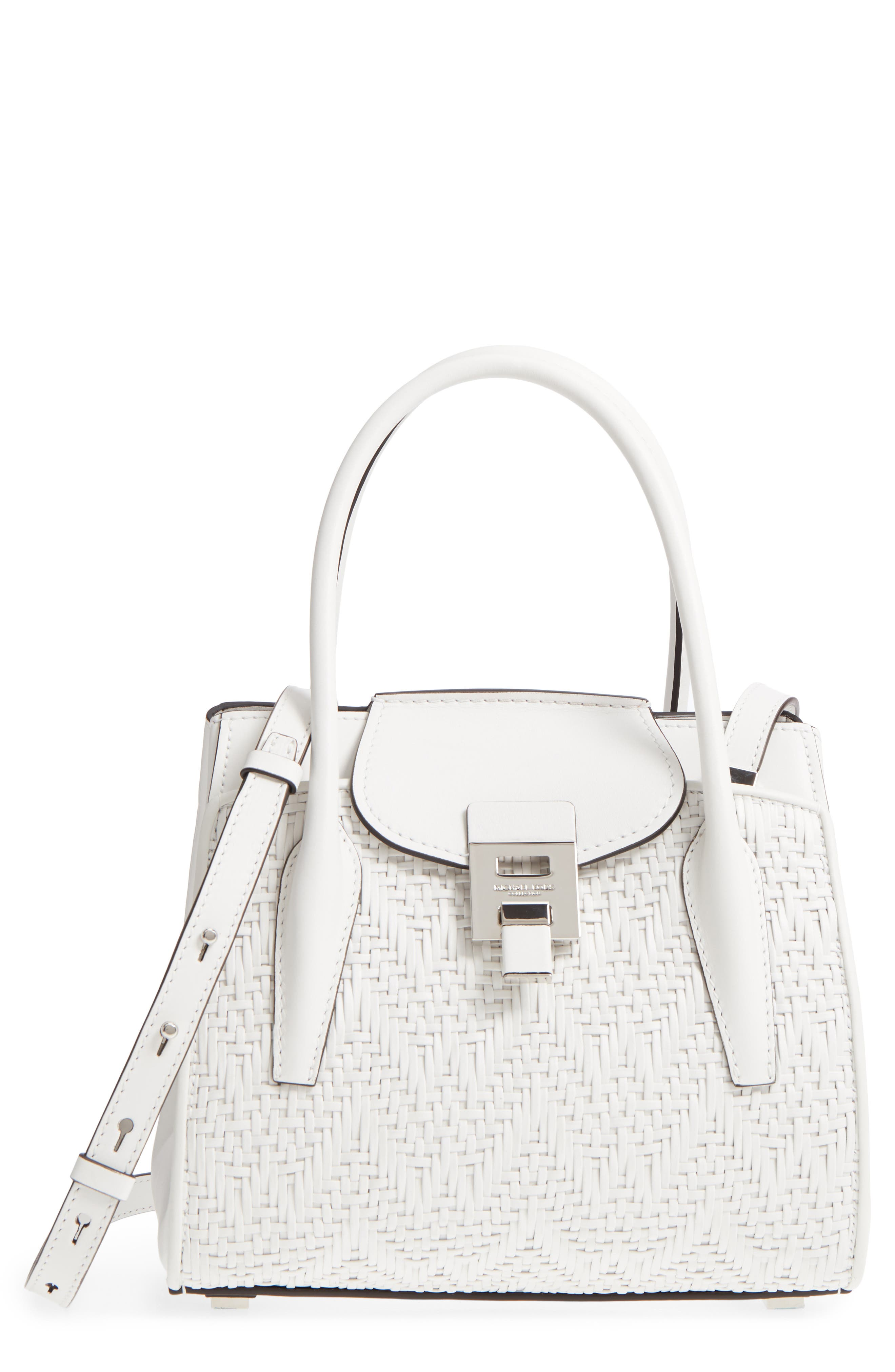 Medium Bancroft Leather Satchel,                         Main,                         color, Optic White