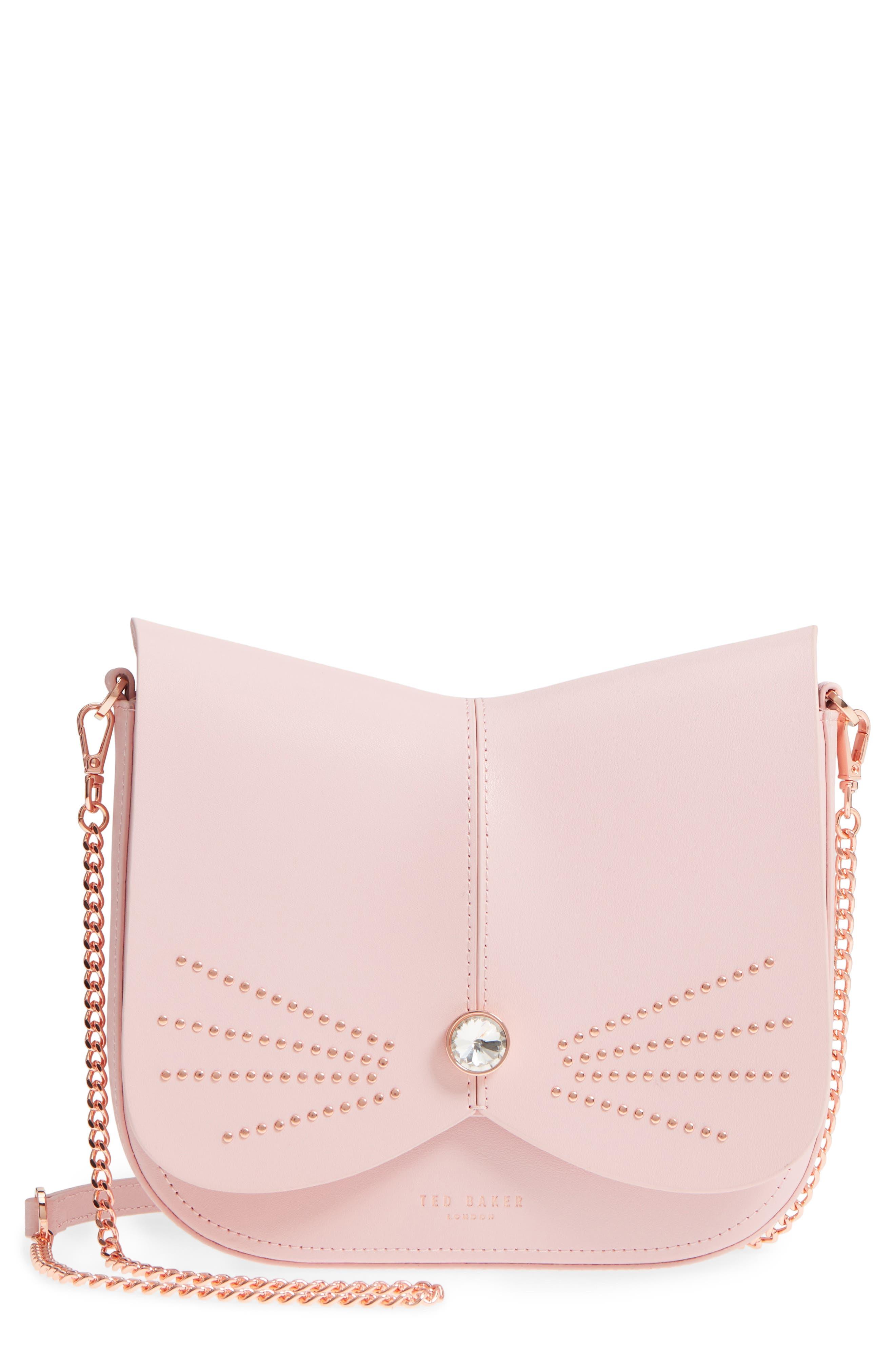Chriiss Cat Stud Leather Crossbody Bag,                             Main thumbnail 1, color,                             Light Pink