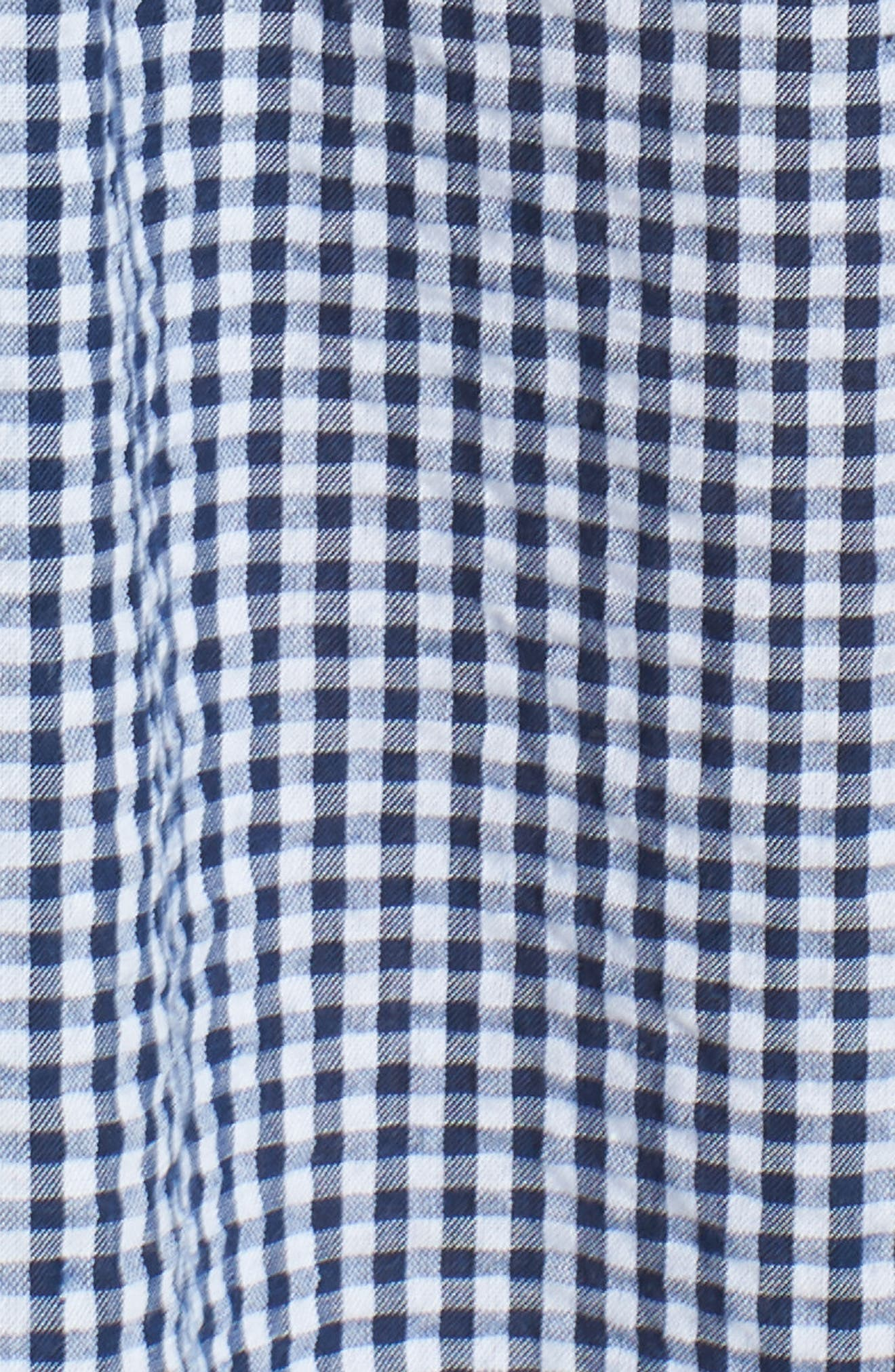 Ardith Gingham Fit & Flare Midi Dress,                             Alternate thumbnail 7, color,                             Blue/ White