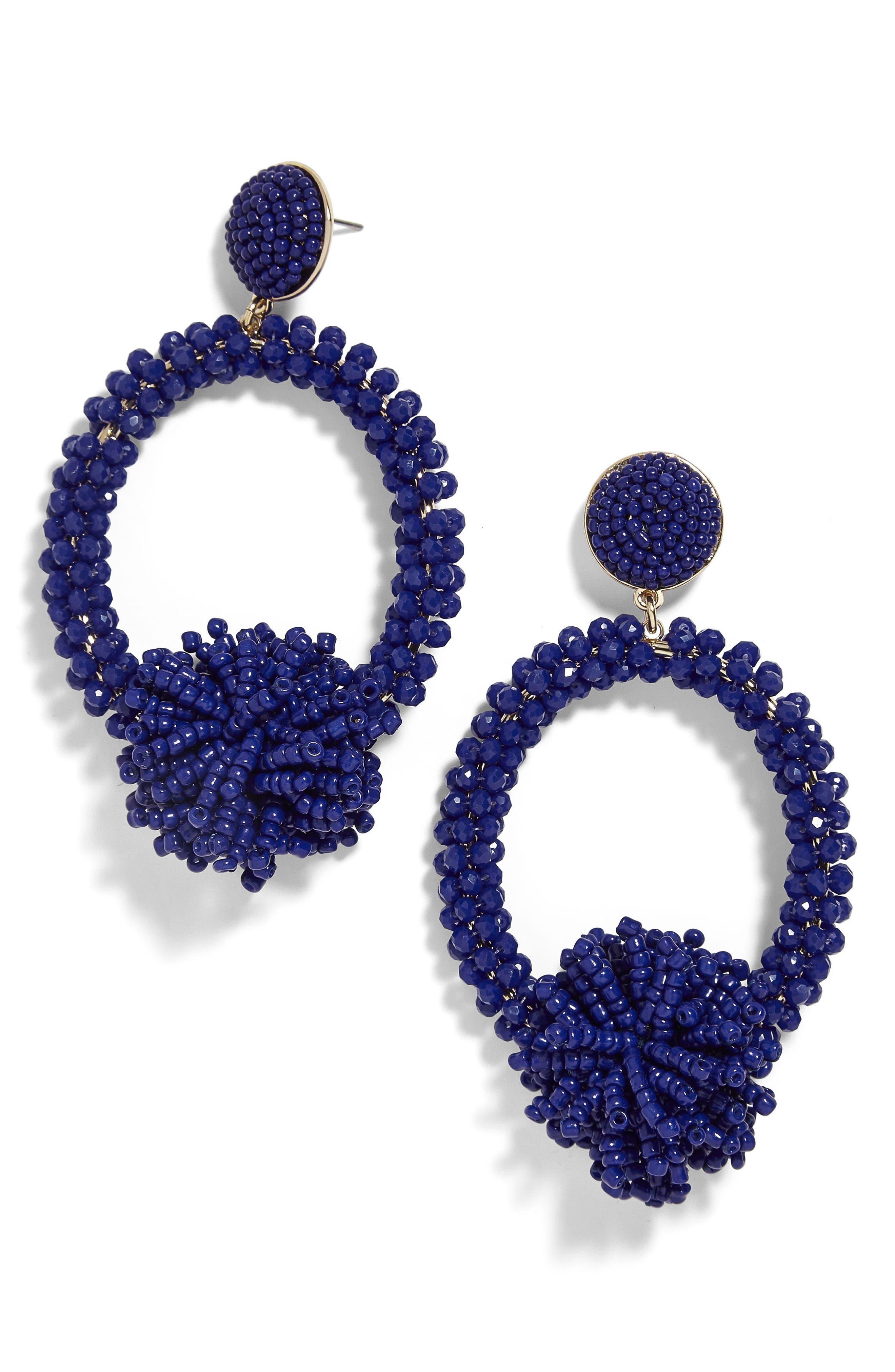 Ricarda Hoop Earrings,                         Main,                         color, Cobalt