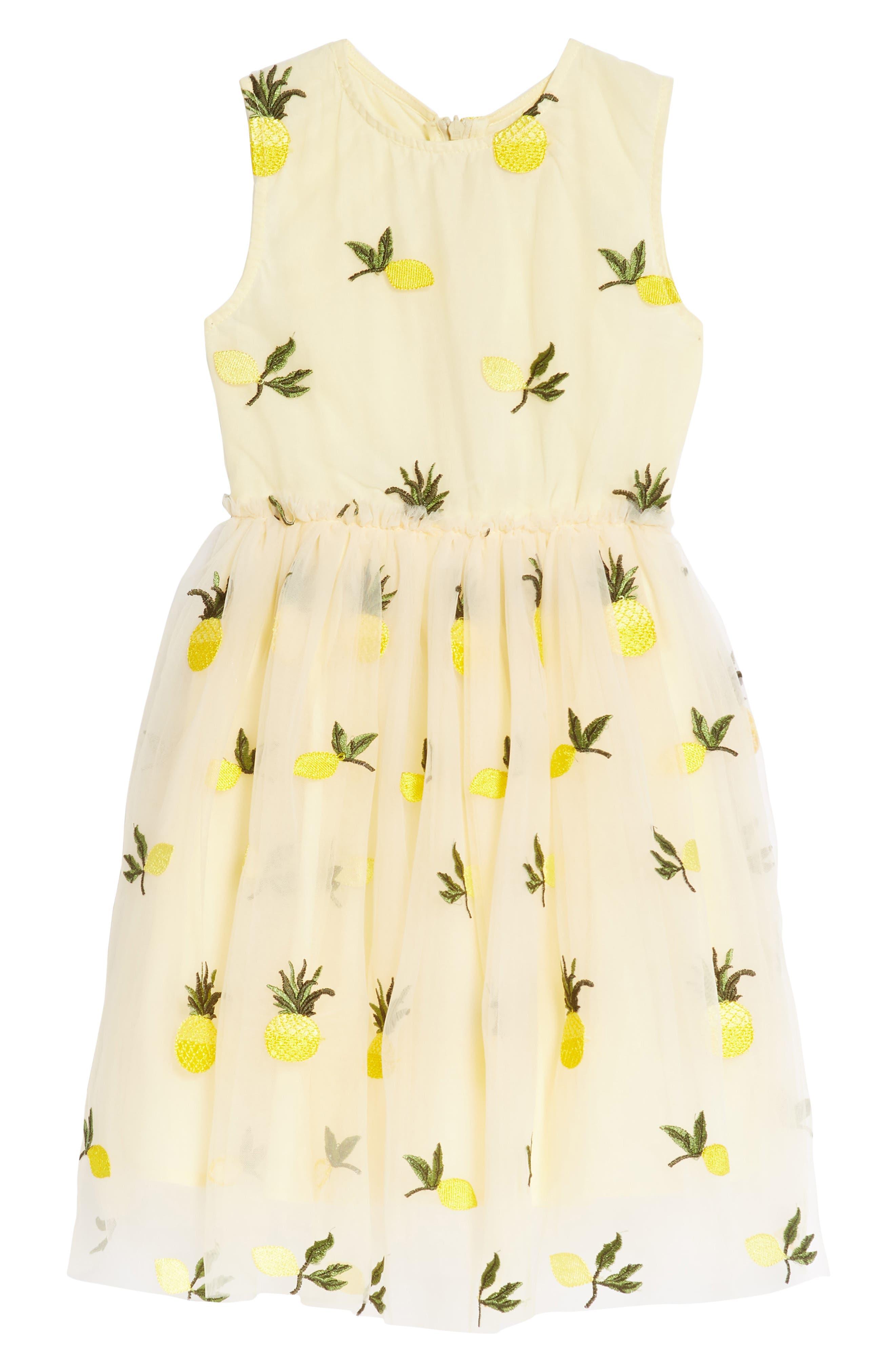 Pineapple & Lemon Embroidered Dress,                             Main thumbnail 1, color,                             Tan