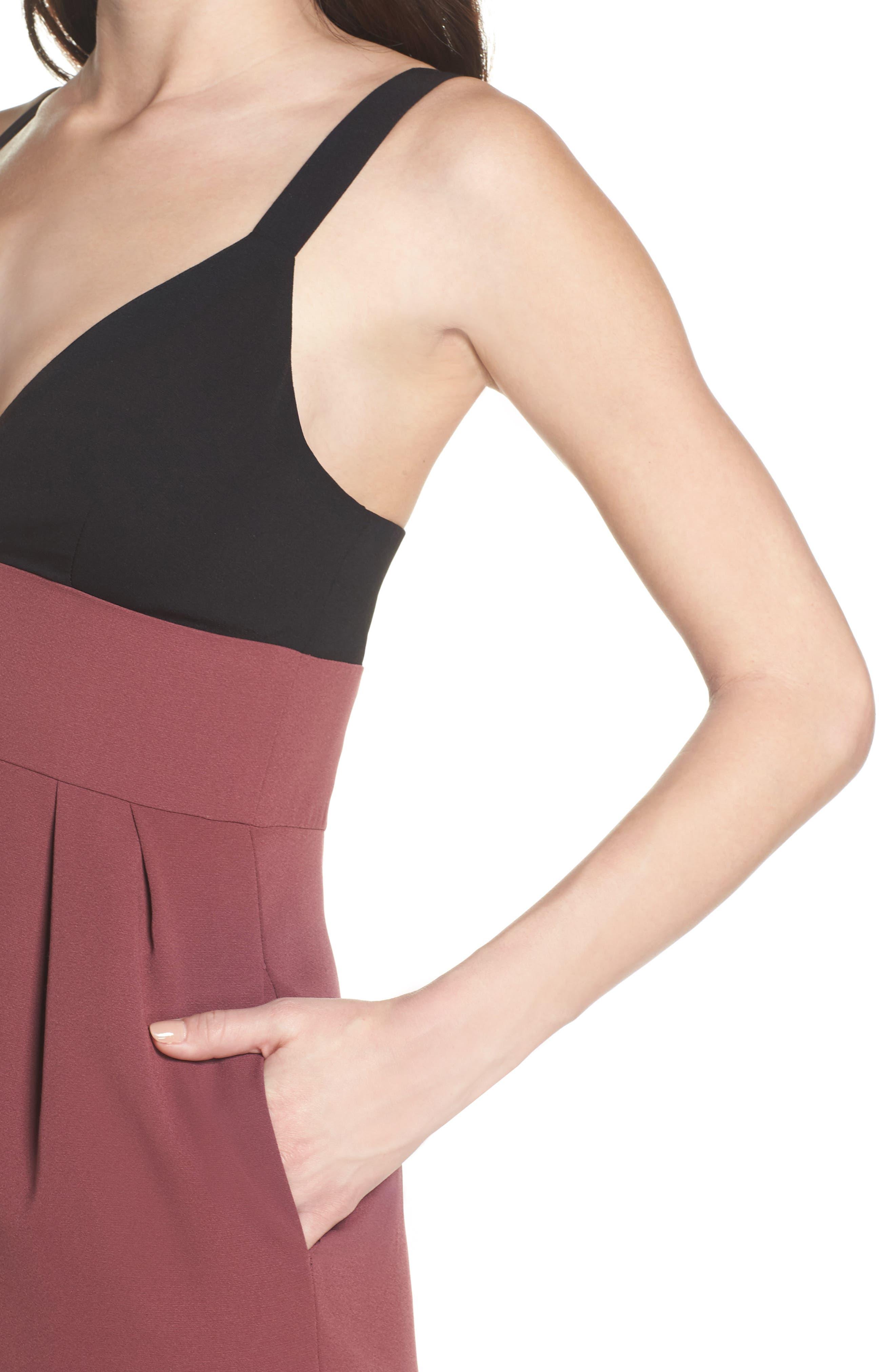Colorblock Midi Dress,                             Alternate thumbnail 4, color,                             Black/ Pandora