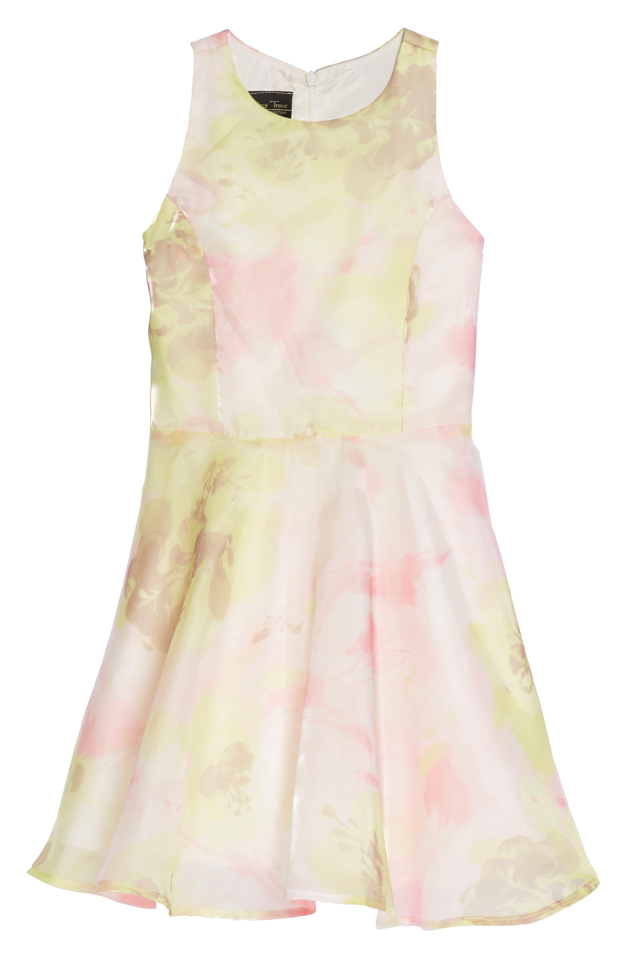 Un Deux Trois Daisy Brocade Skater Dress (Big Girls)
