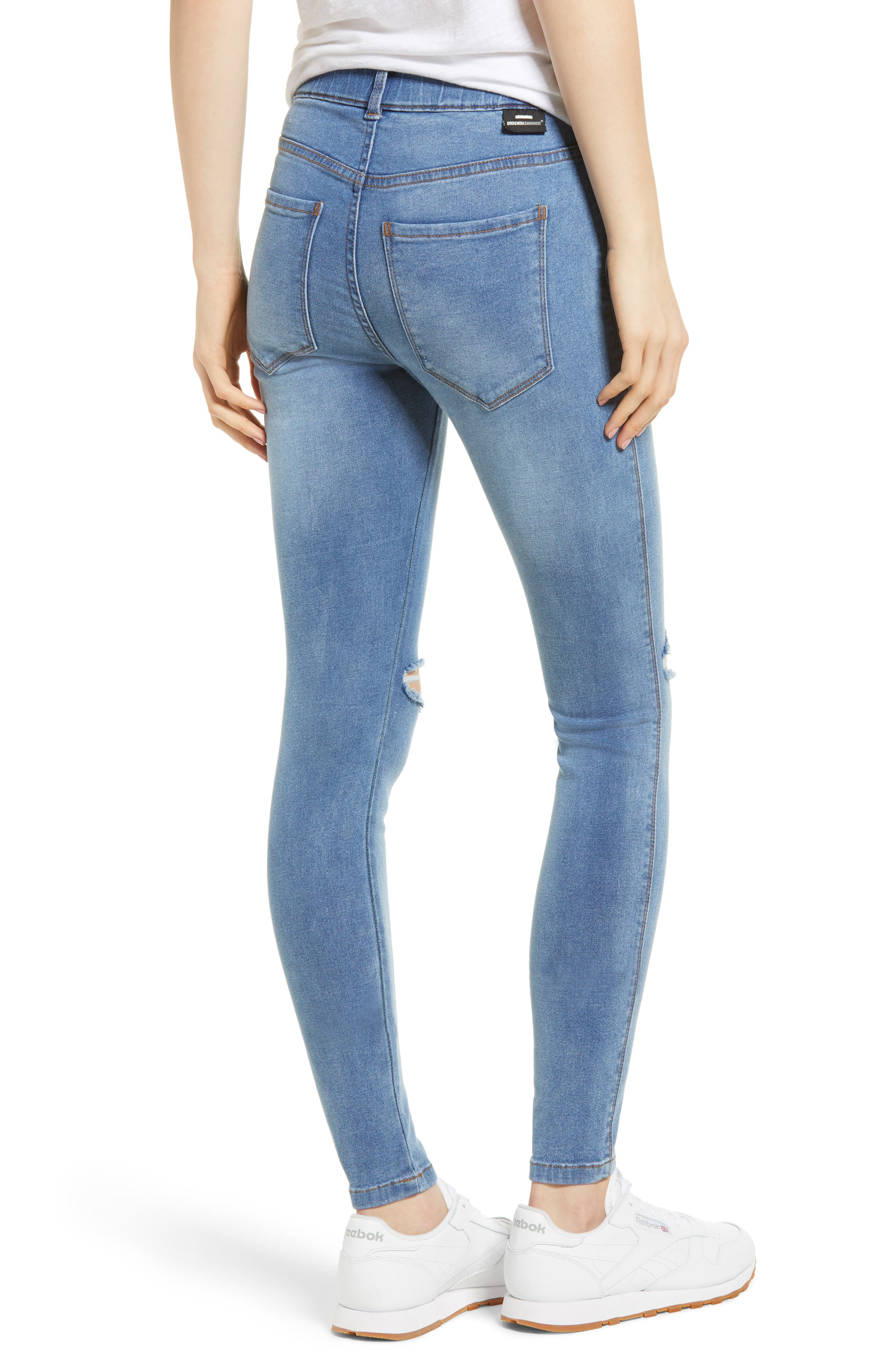 Lexy Ripped Skinny Jeans,                             Alternate thumbnail 2, color,                             Light Stone Destroyed