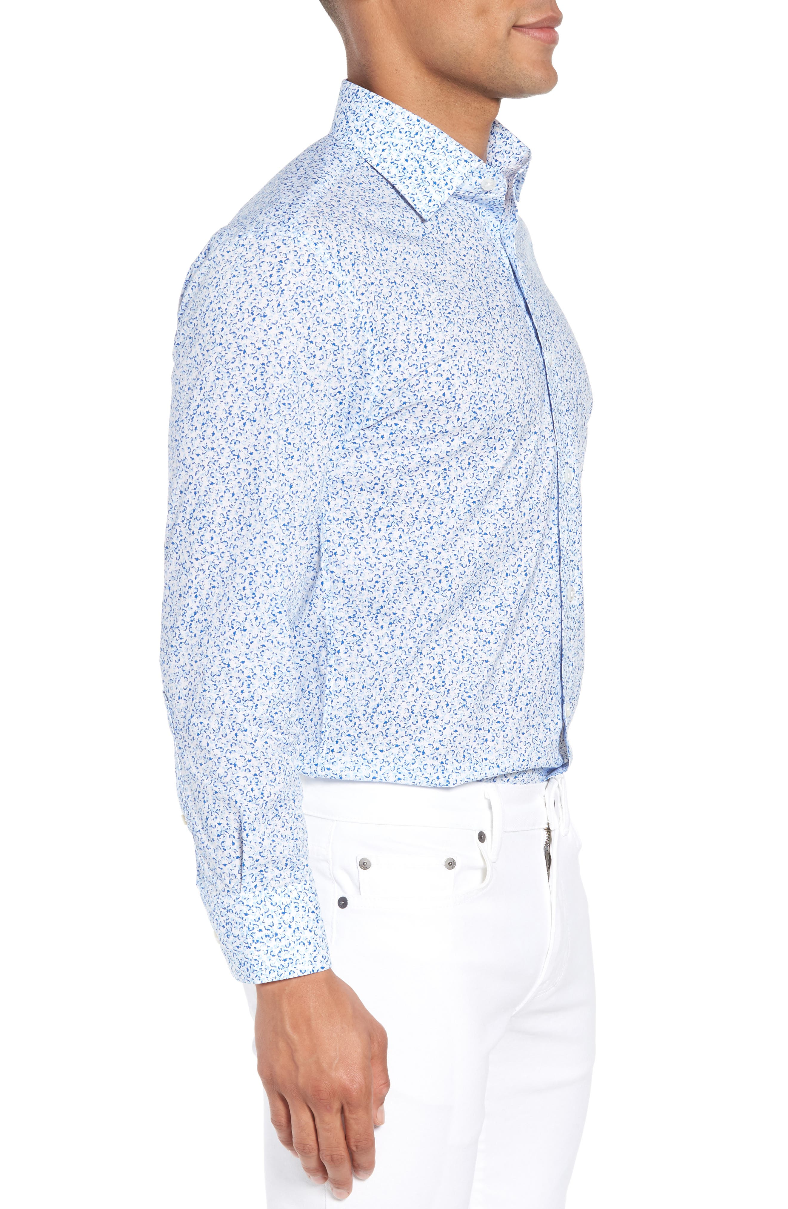 Jetsetter Slim Fit Floral Dress Shirt,                             Alternate thumbnail 4, color,                             Lapis Blue