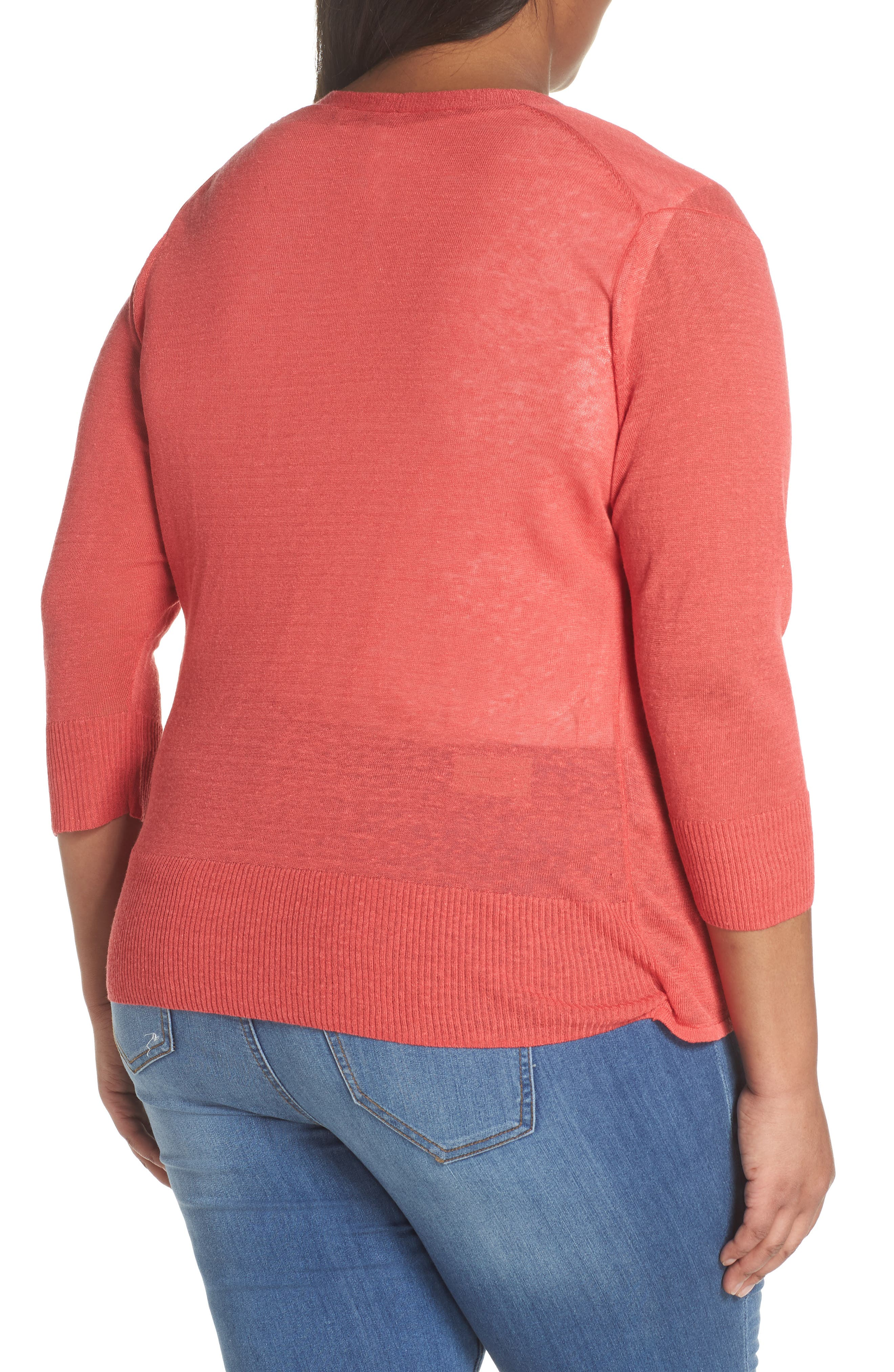 4-Way Convertible Three Quarter Sleeve Cardigan,                             Alternate thumbnail 3, color,                             Spiced Rose