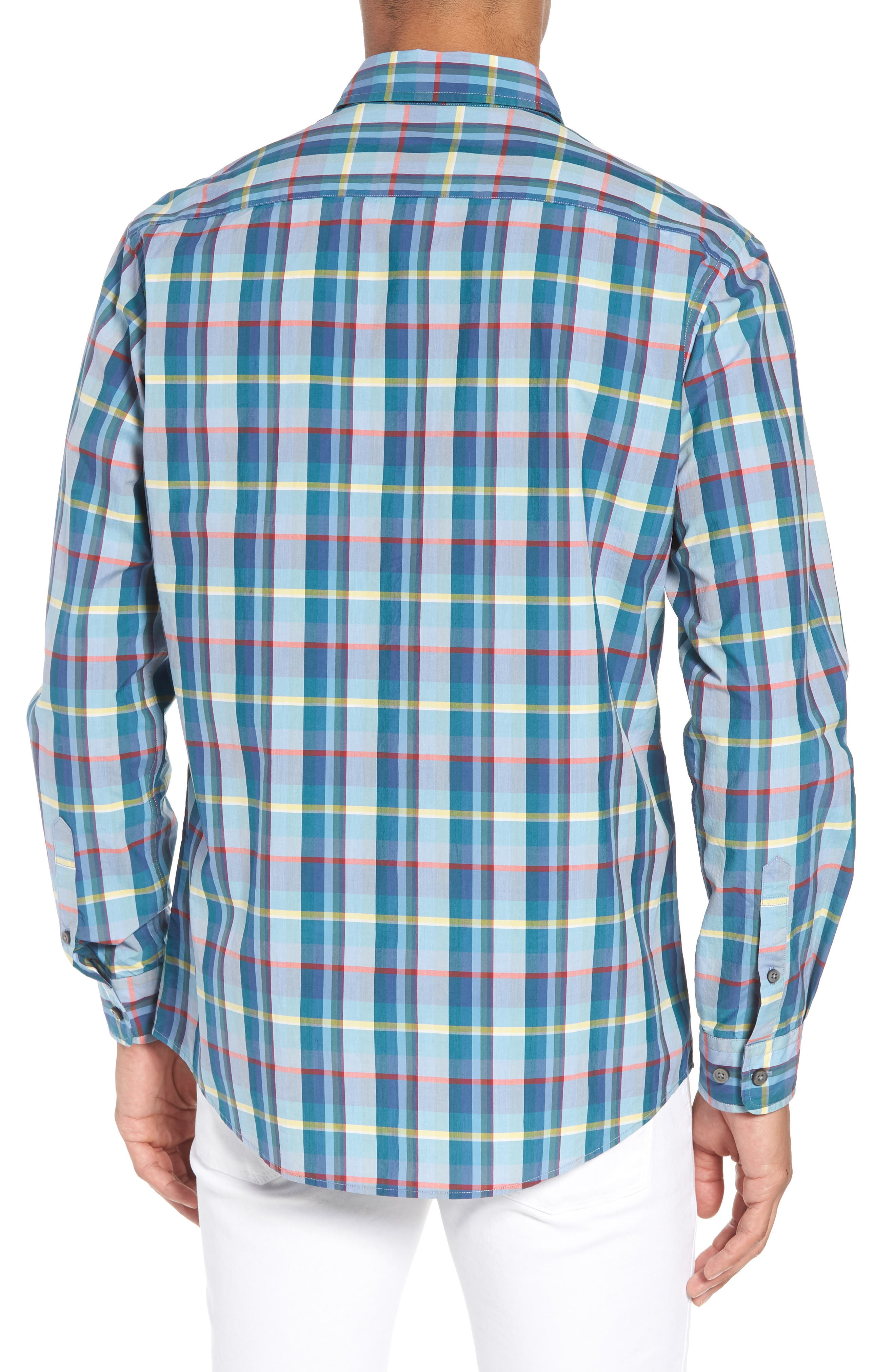 Stockyard Bay Sports Fit Plaid Sport Shirt,                             Alternate thumbnail 3, color,                             Forest