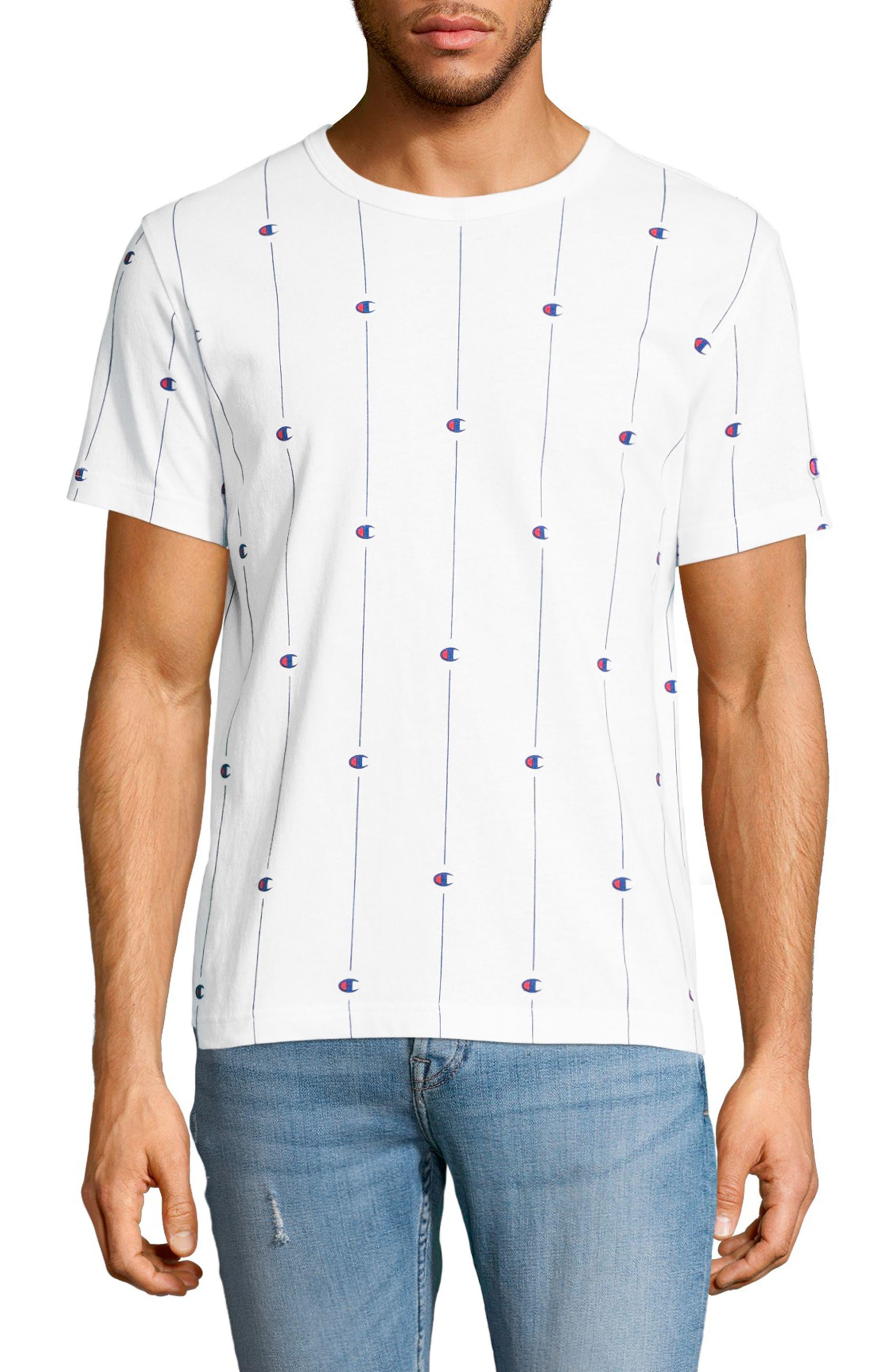 Allover Print Crewneck T-Shirt,                         Main,                         color, White