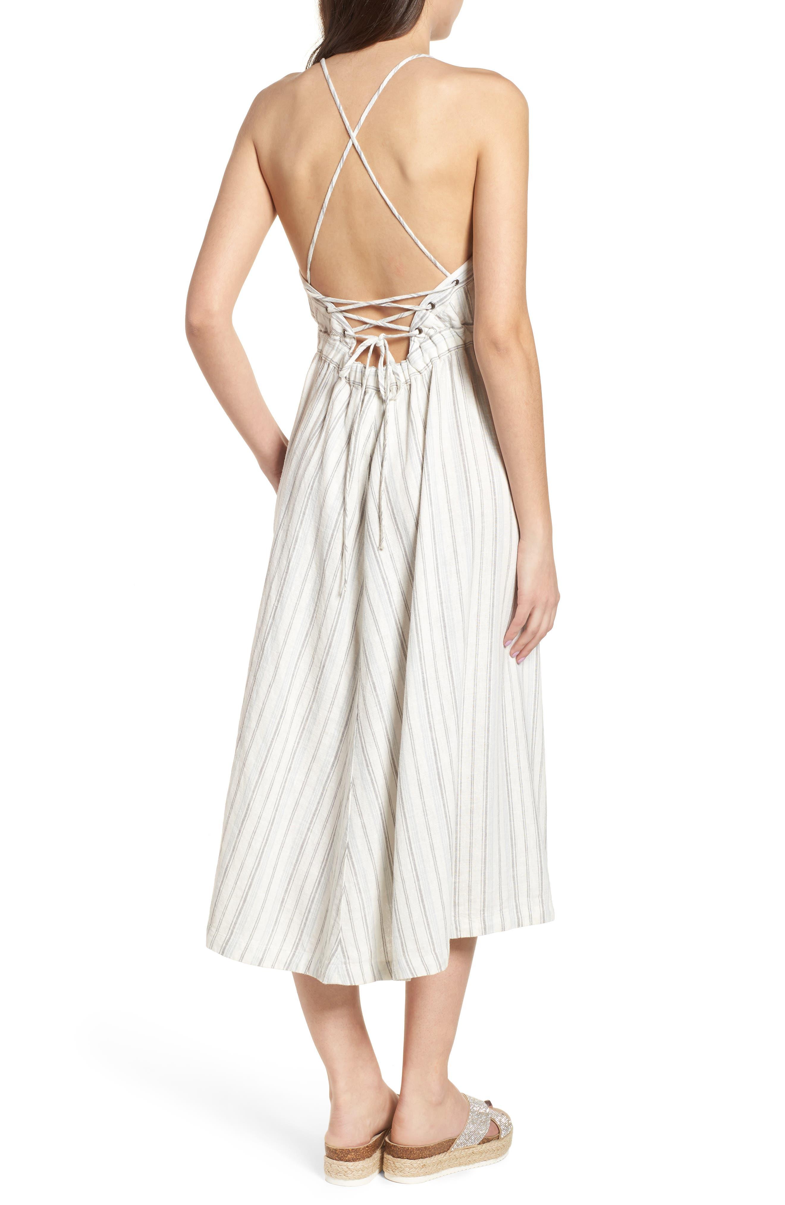 Stripe Apron Dress,                             Alternate thumbnail 2, color,                             Ivory Verigated Stripe