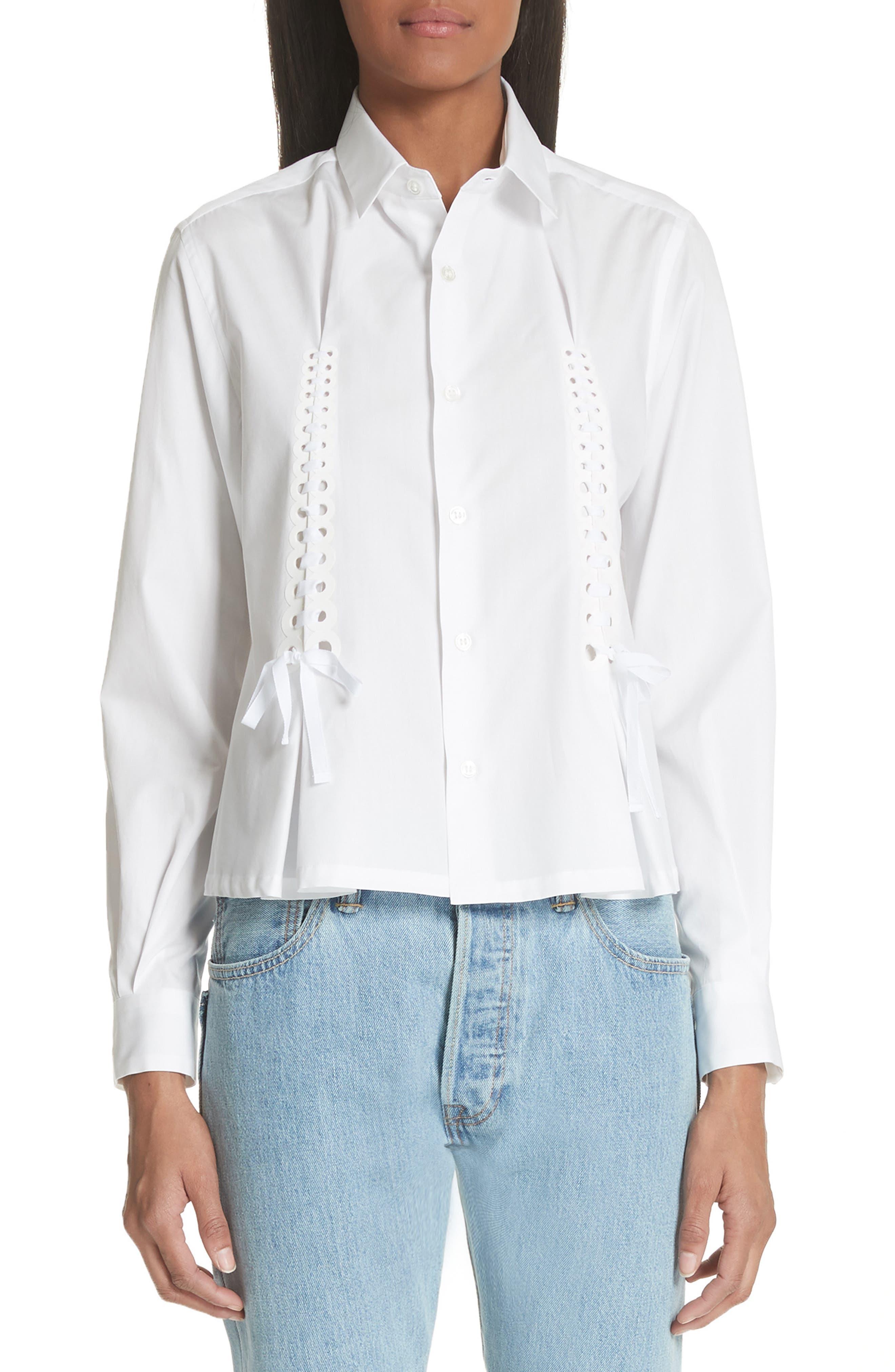 Ribbon Tie Blouse,                         Main,                         color, White