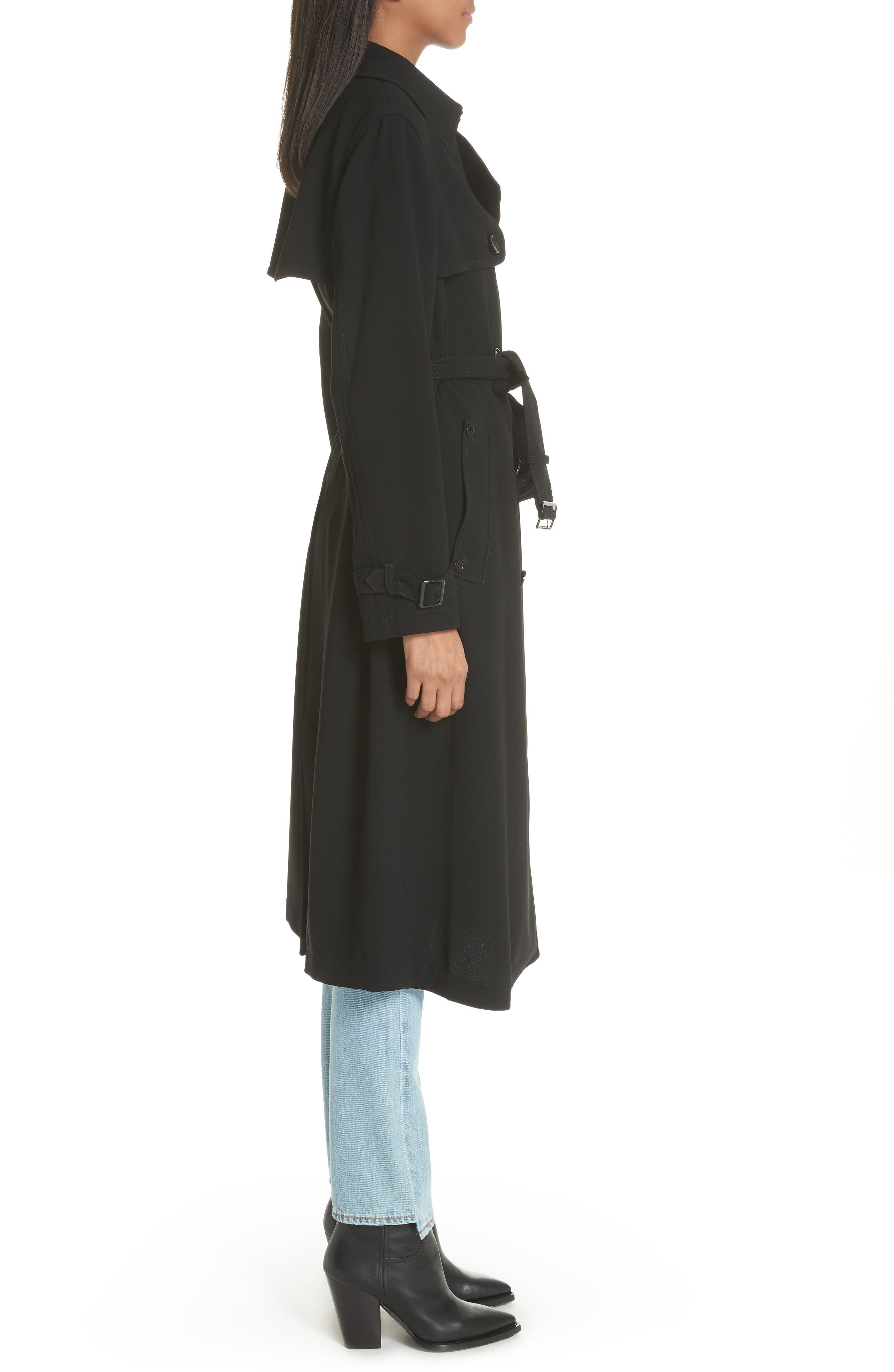Double Breasted Coat,                             Alternate thumbnail 3, color,                             Black