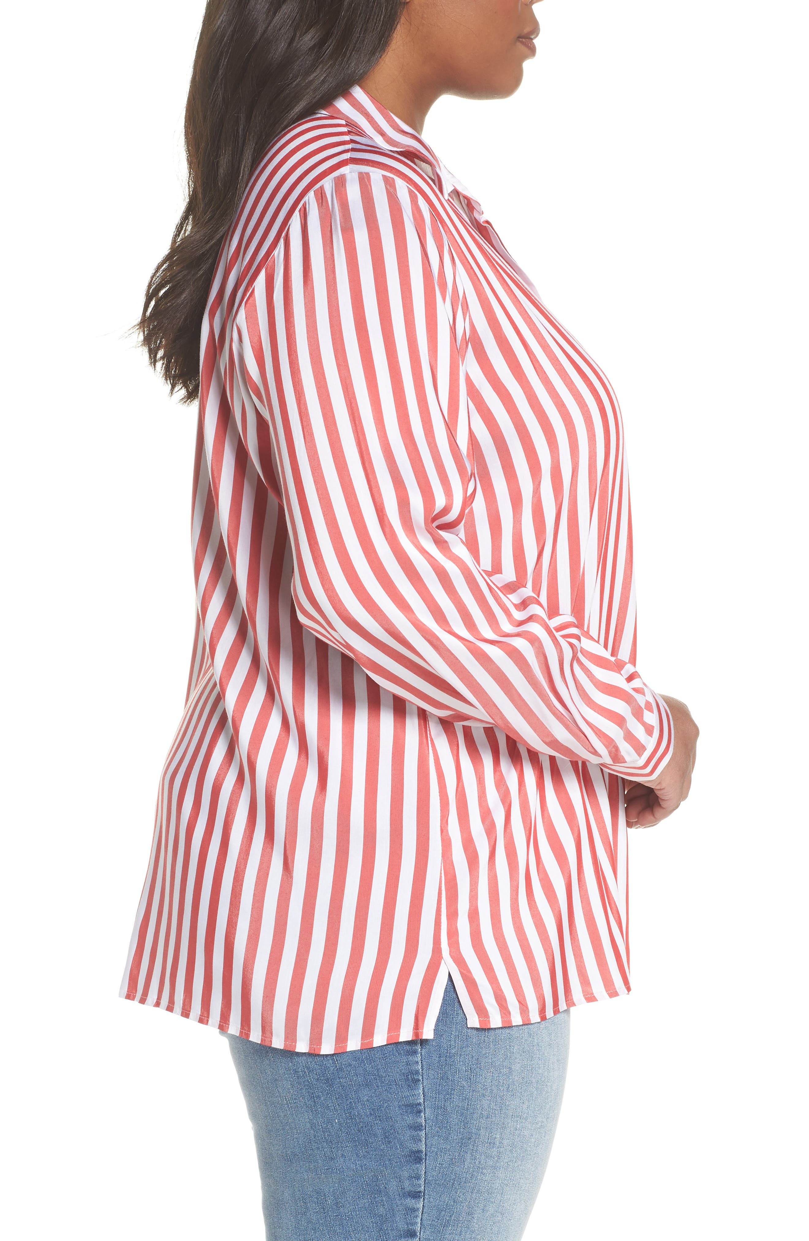 Stripe Blouse,                             Alternate thumbnail 3, color,                             Red/ White Stripe