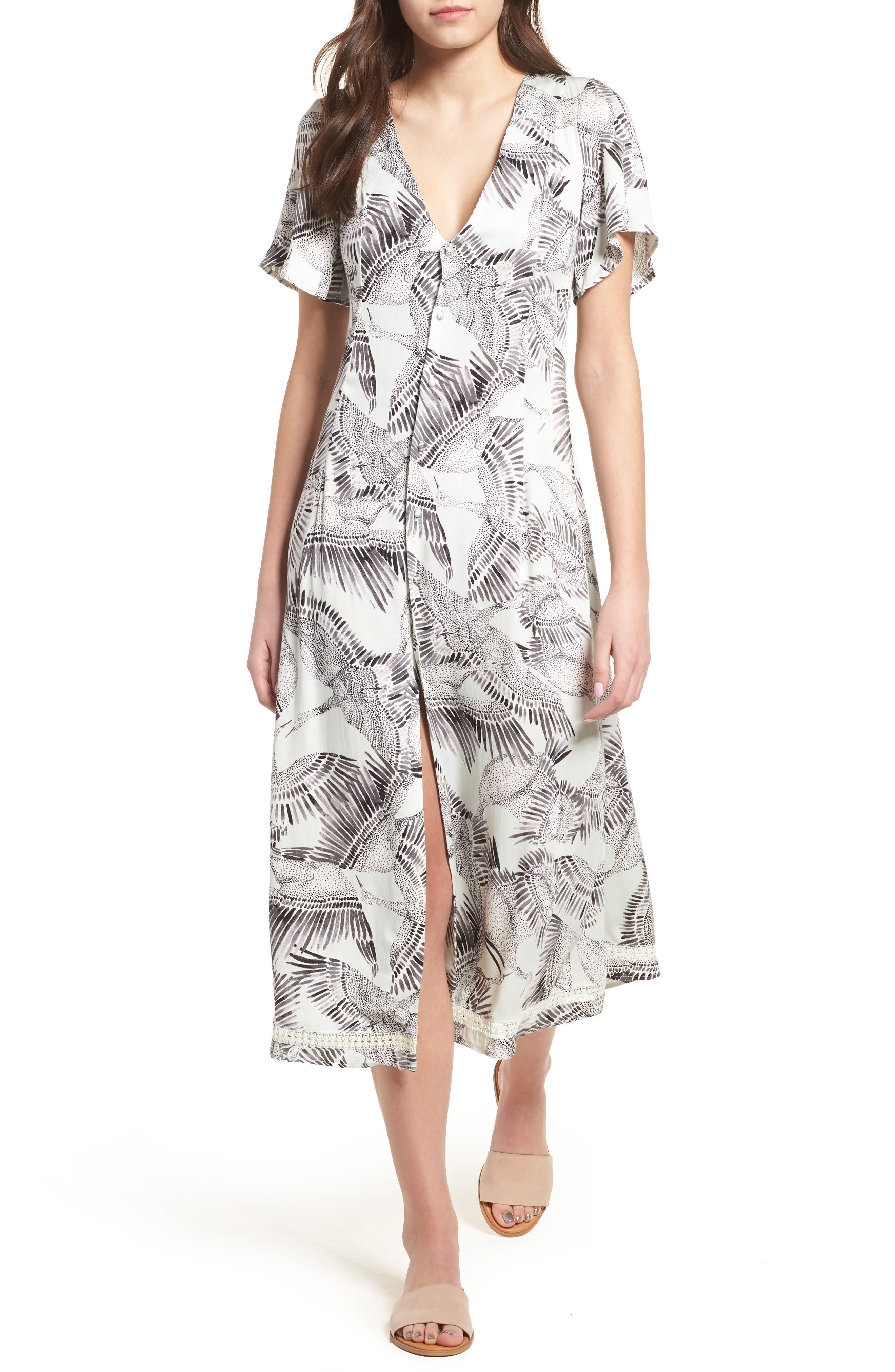 Taking Flight Midi Dress,                             Main thumbnail 1, color,                             Multi Grey