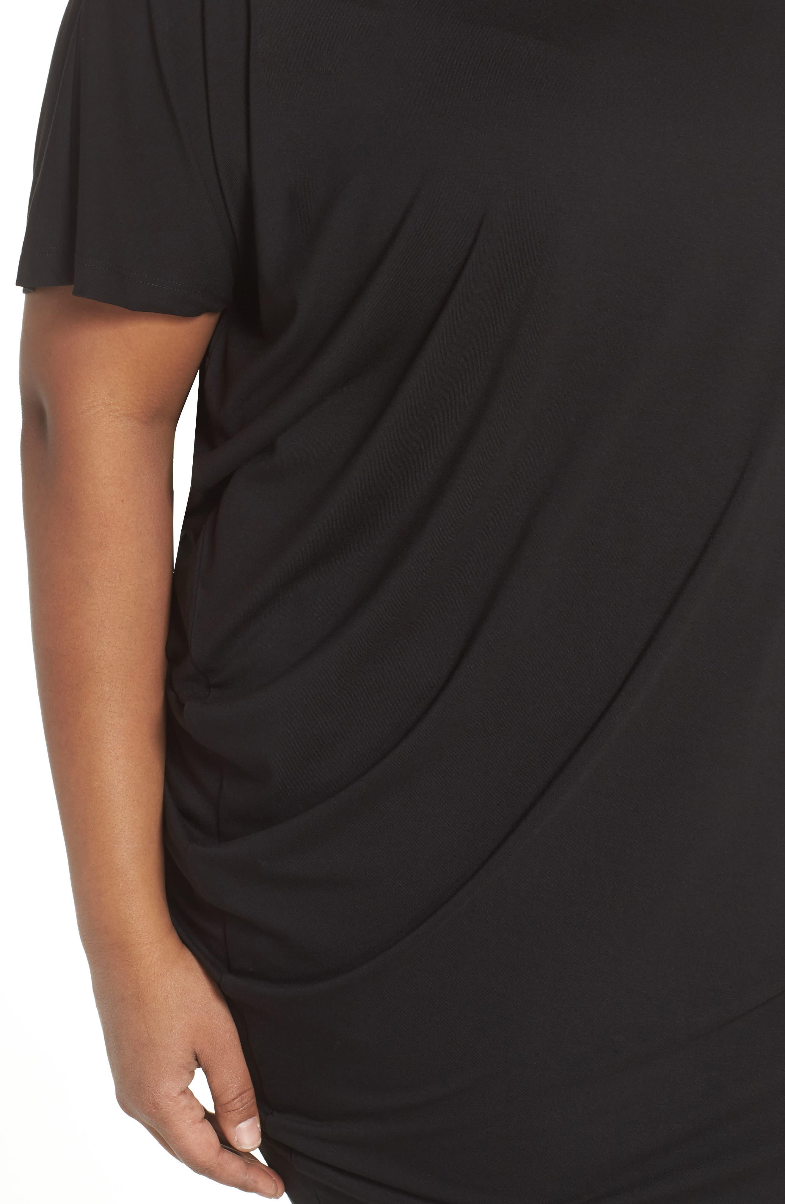 Asymmetrical Tunic Top,                             Alternate thumbnail 4, color,                             Black