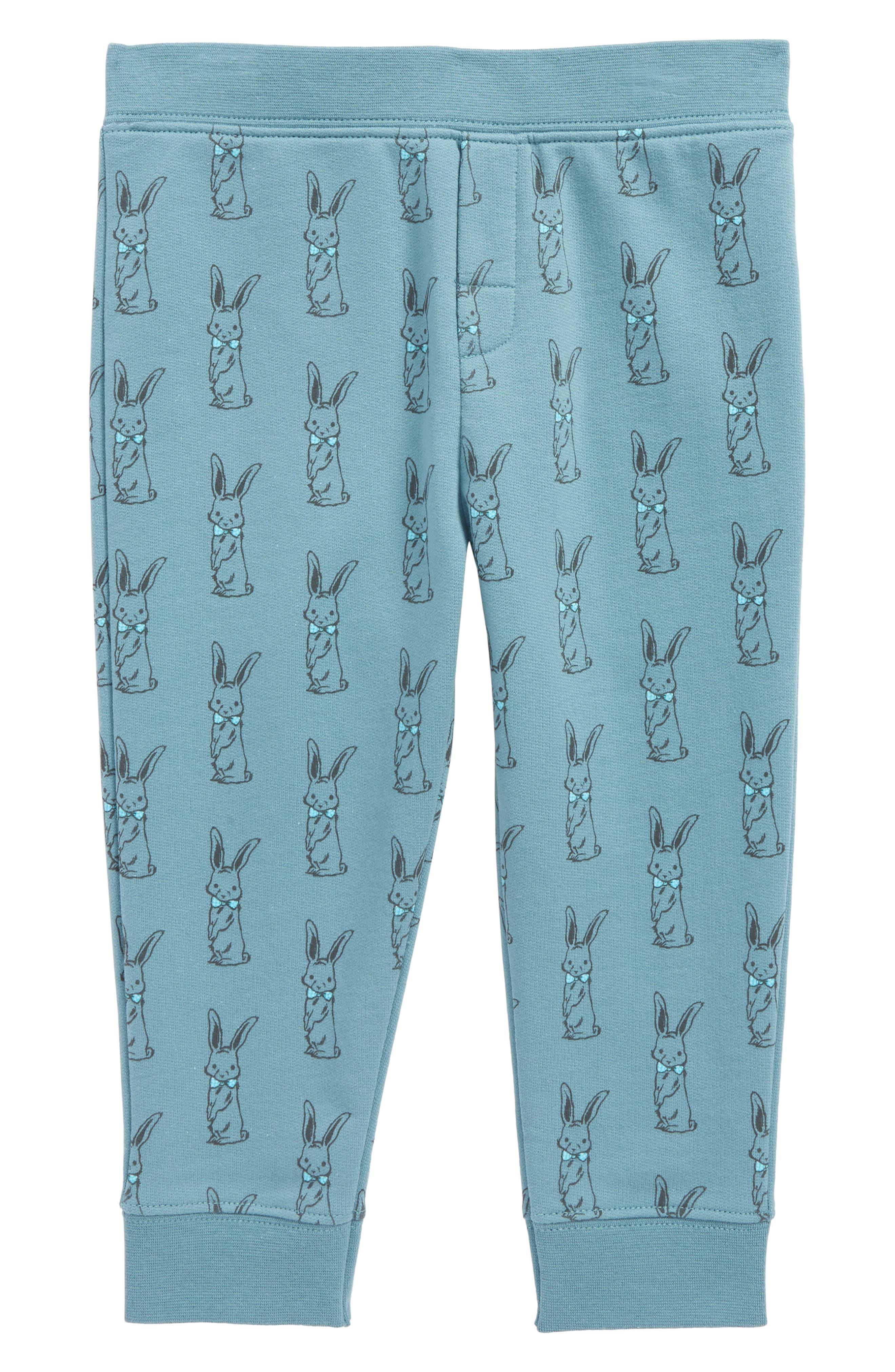 Peek Bunny Print Jogger Pants,                             Main thumbnail 1, color,                             Teal