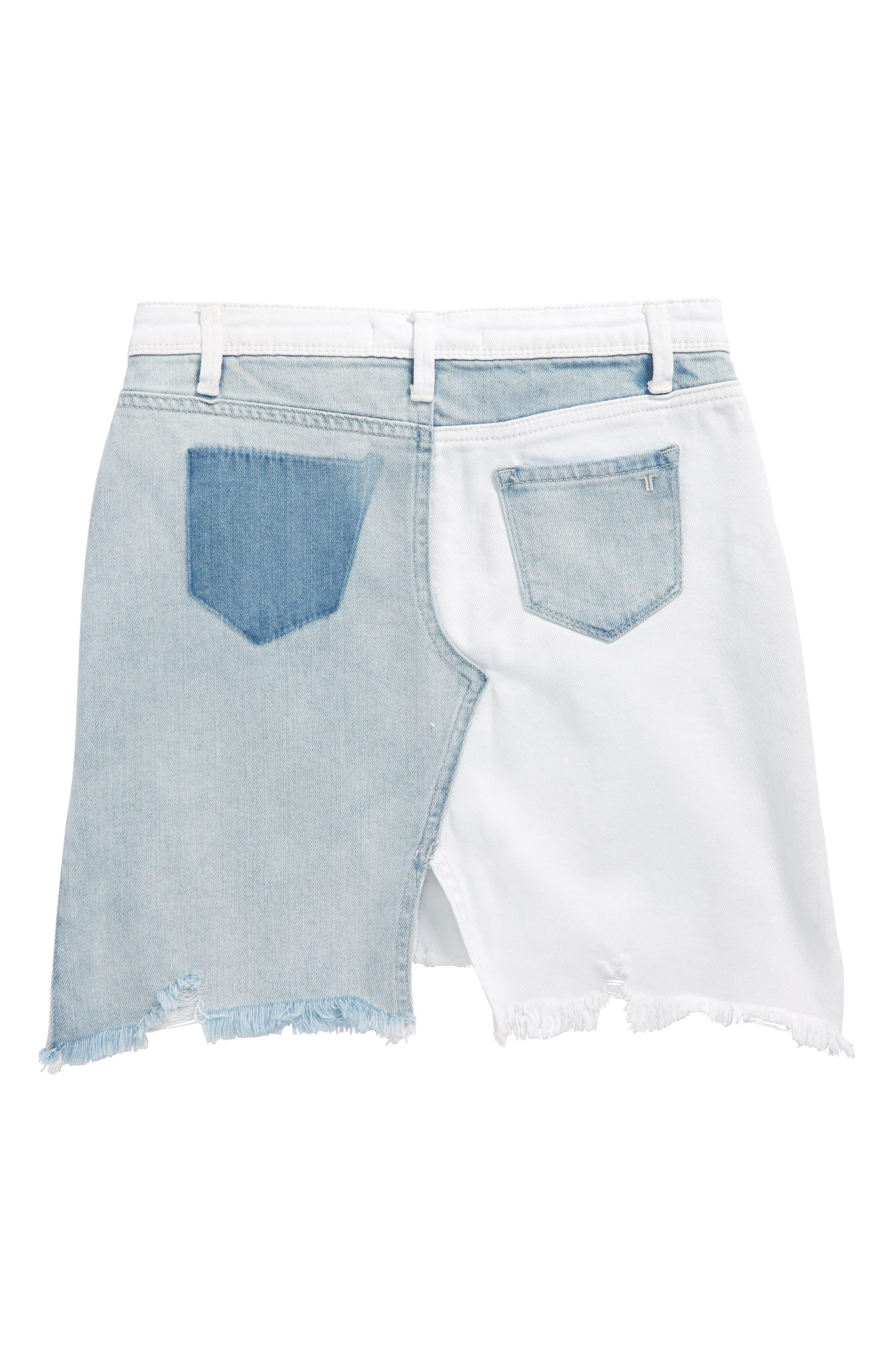 Patchwork Denim Skirt,                             Alternate thumbnail 2, color,                             White/ Indigo