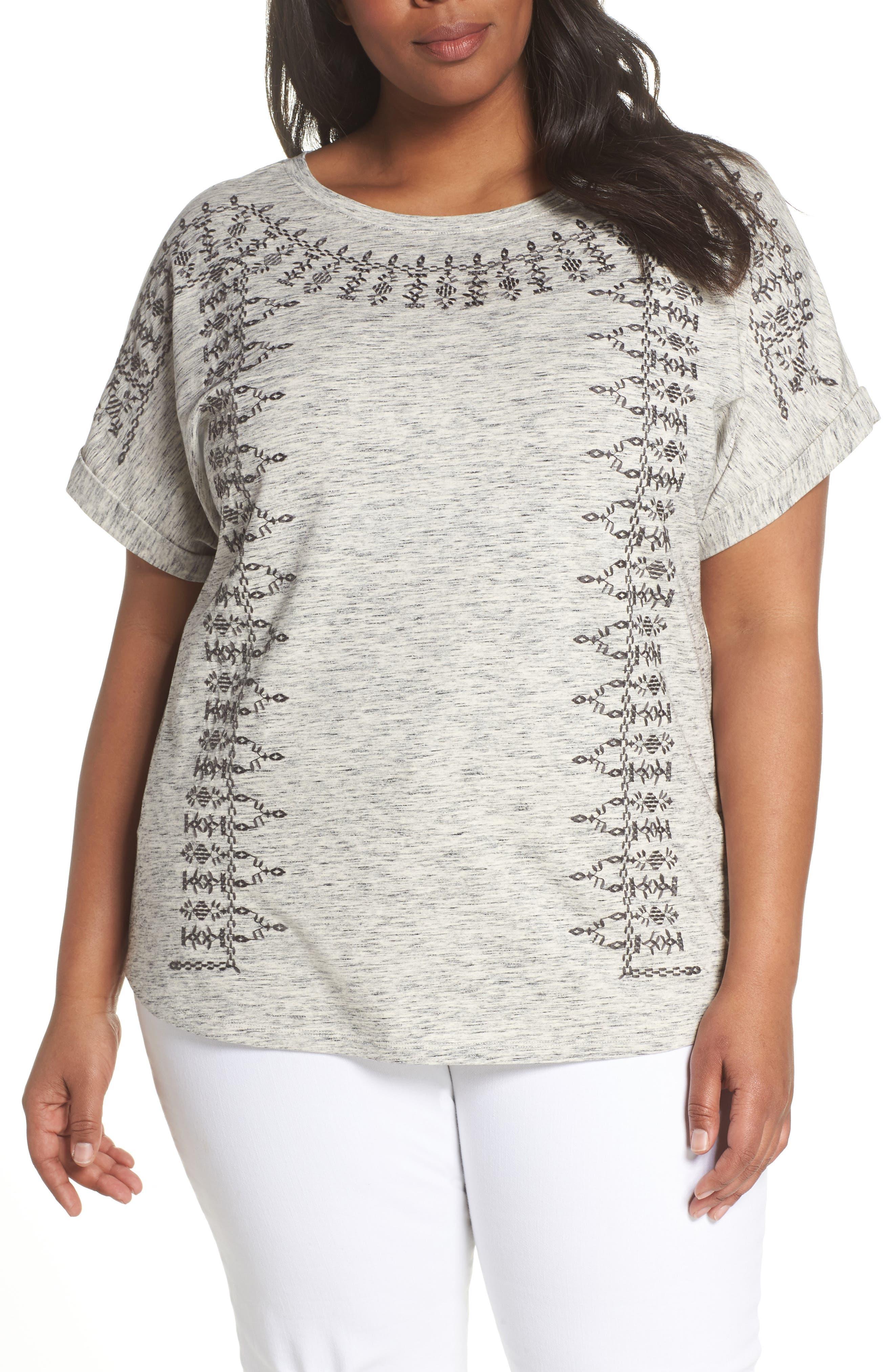 Henna Short Sleeve Top,                         Main,                         color, Zinc Mix