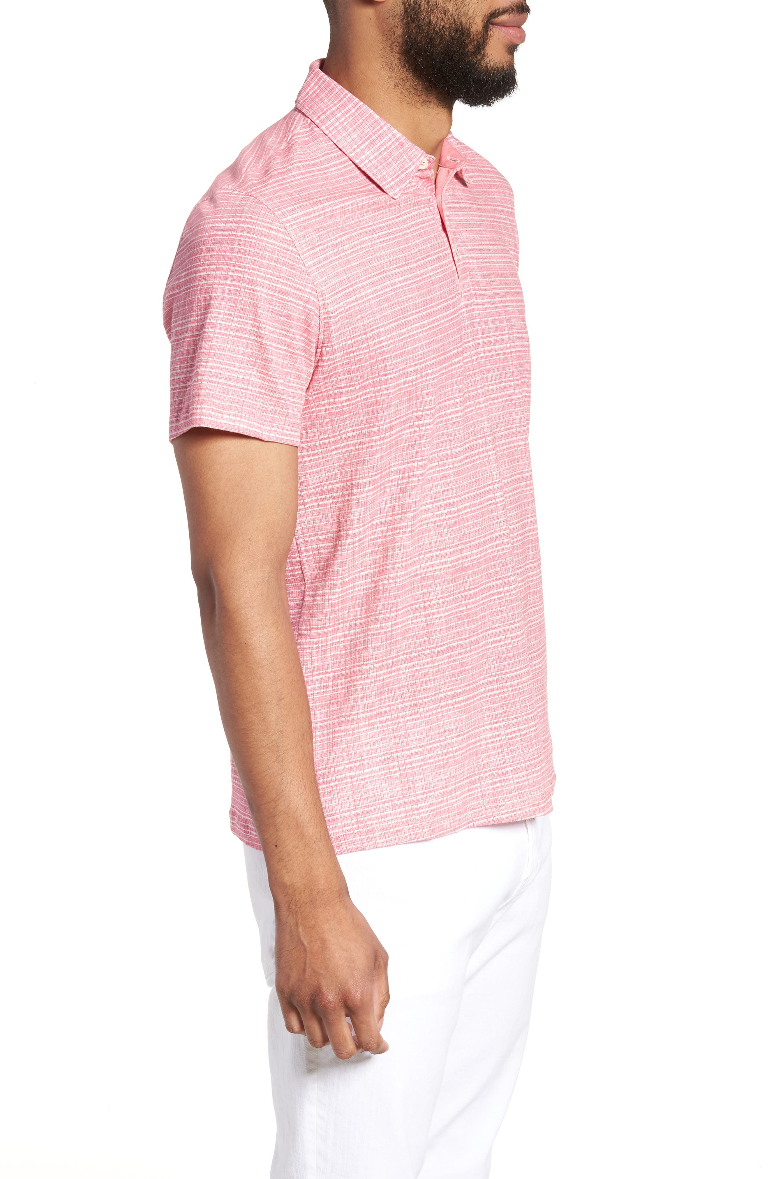 Cedar Regular Fit Grid Print Polo,                             Alternate thumbnail 3, color,                             Pink
