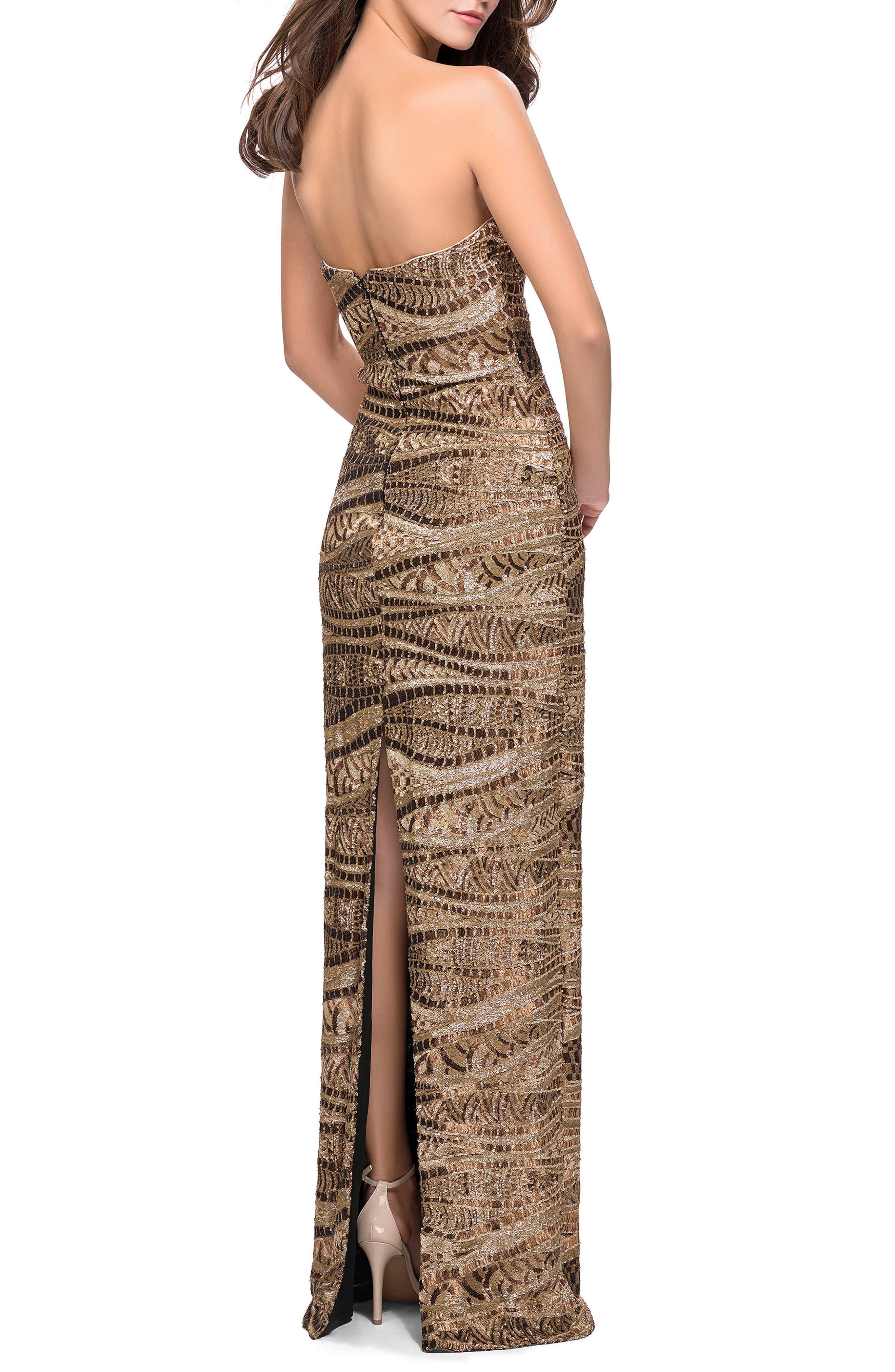 Sequin Strapless Column Gown,                             Alternate thumbnail 2, color,                             Gold/ Bronze