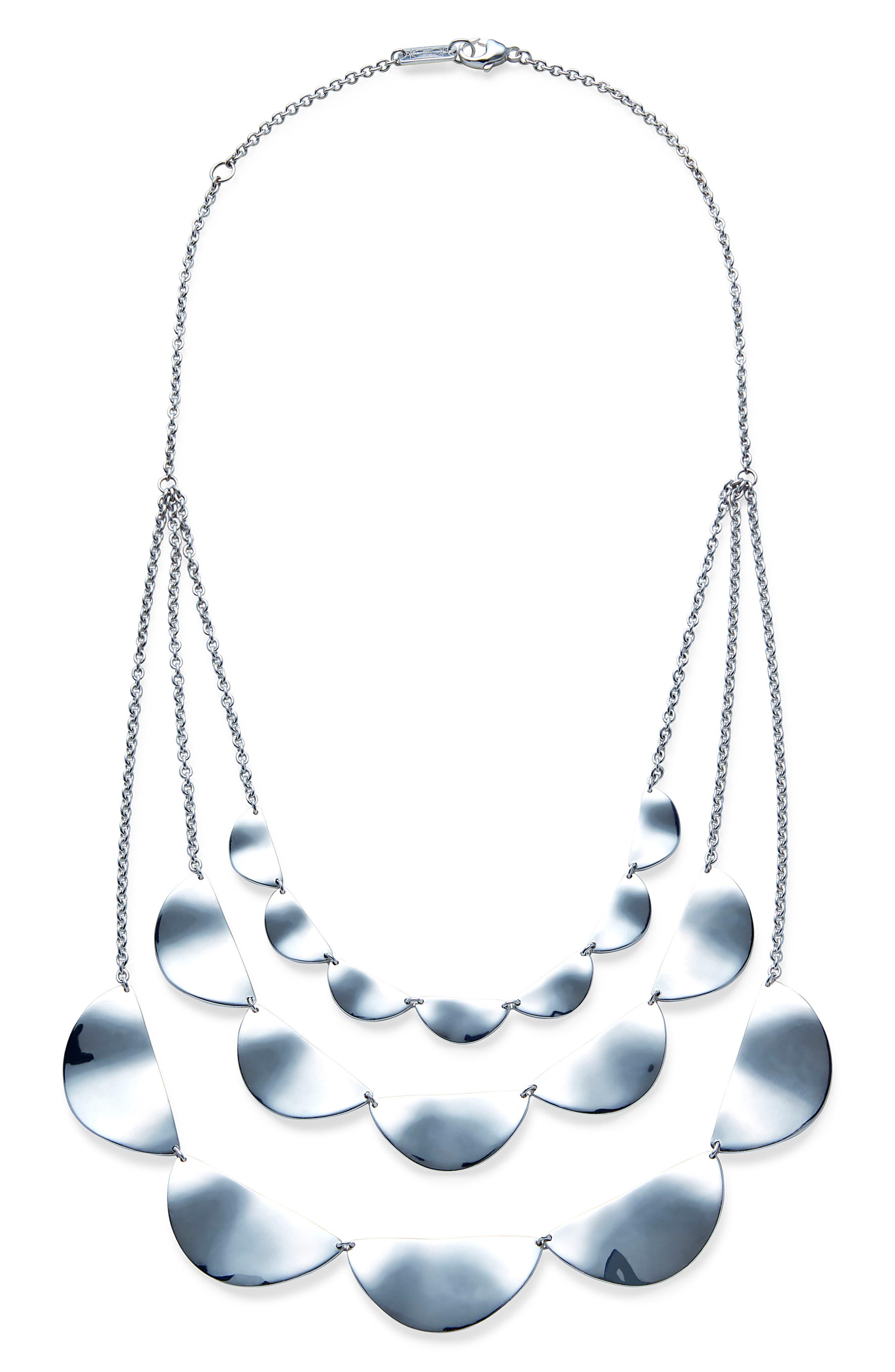 Classico Three-Strand Half Paillette Necklace,                             Main thumbnail 1, color,                             Silver