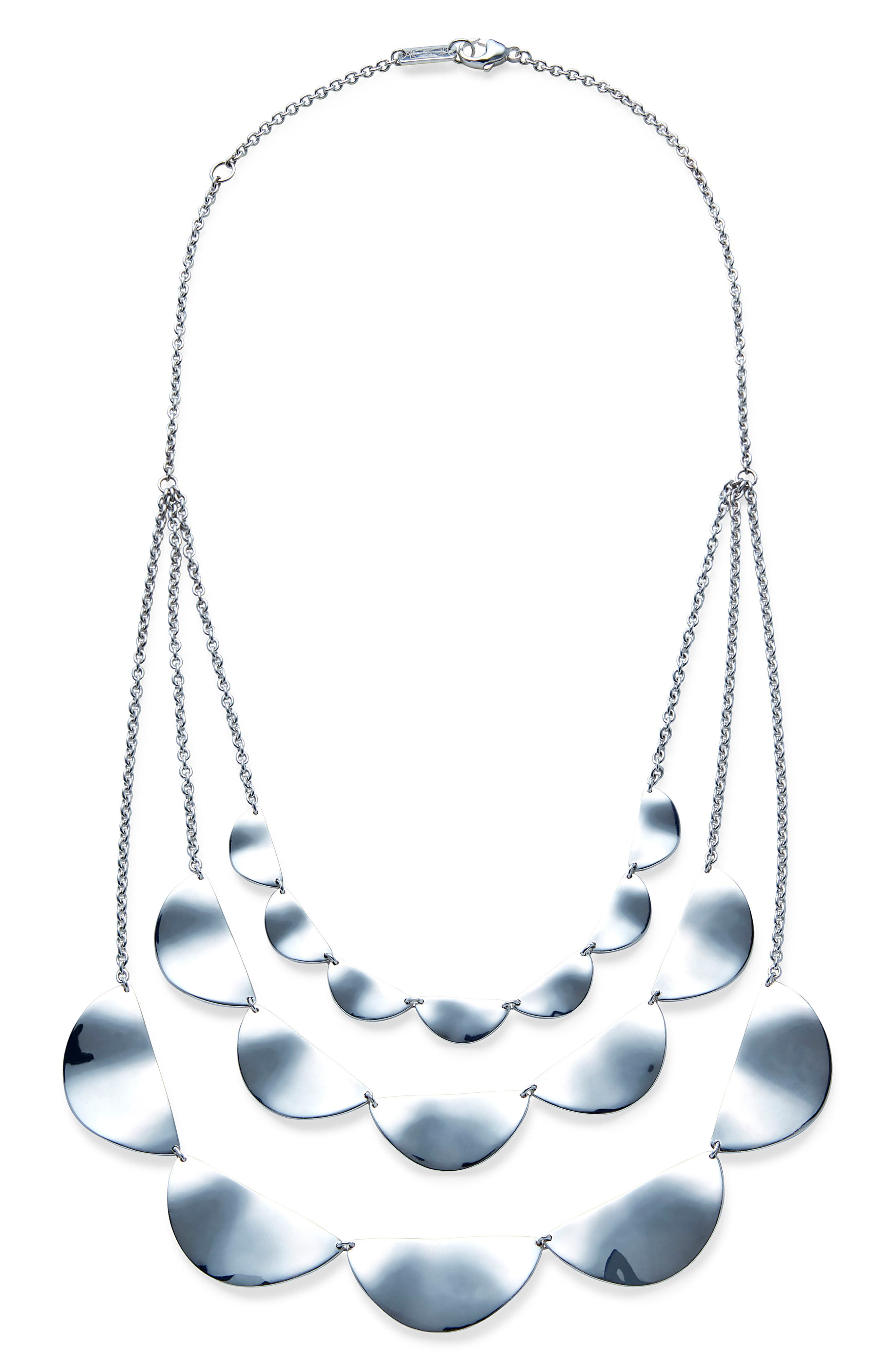 Classico Three-Strand Half Paillette Necklace,                         Main,                         color, Silver