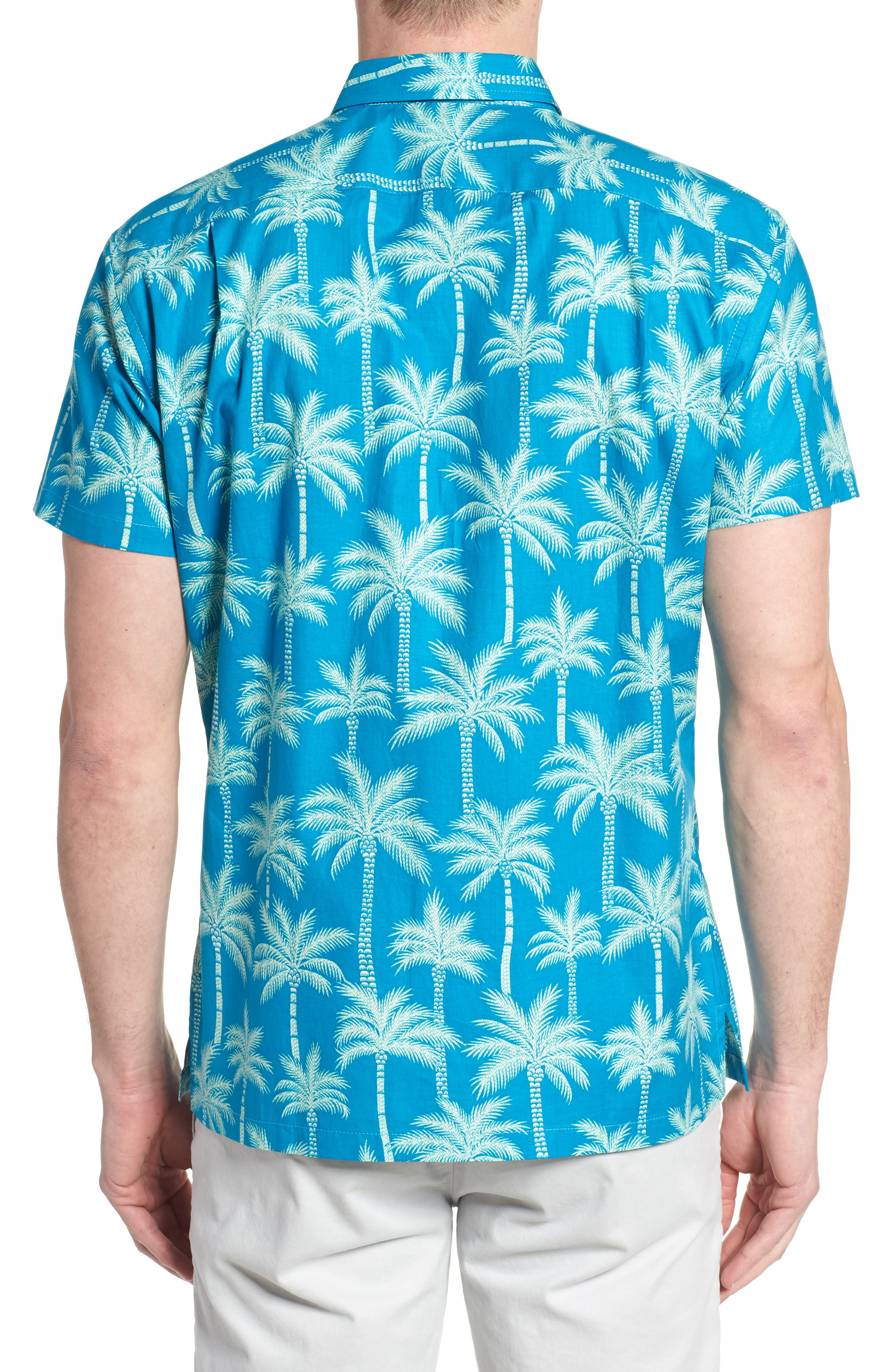 Erté Palm Camp Shirt,                             Alternate thumbnail 3, color,                             Wave