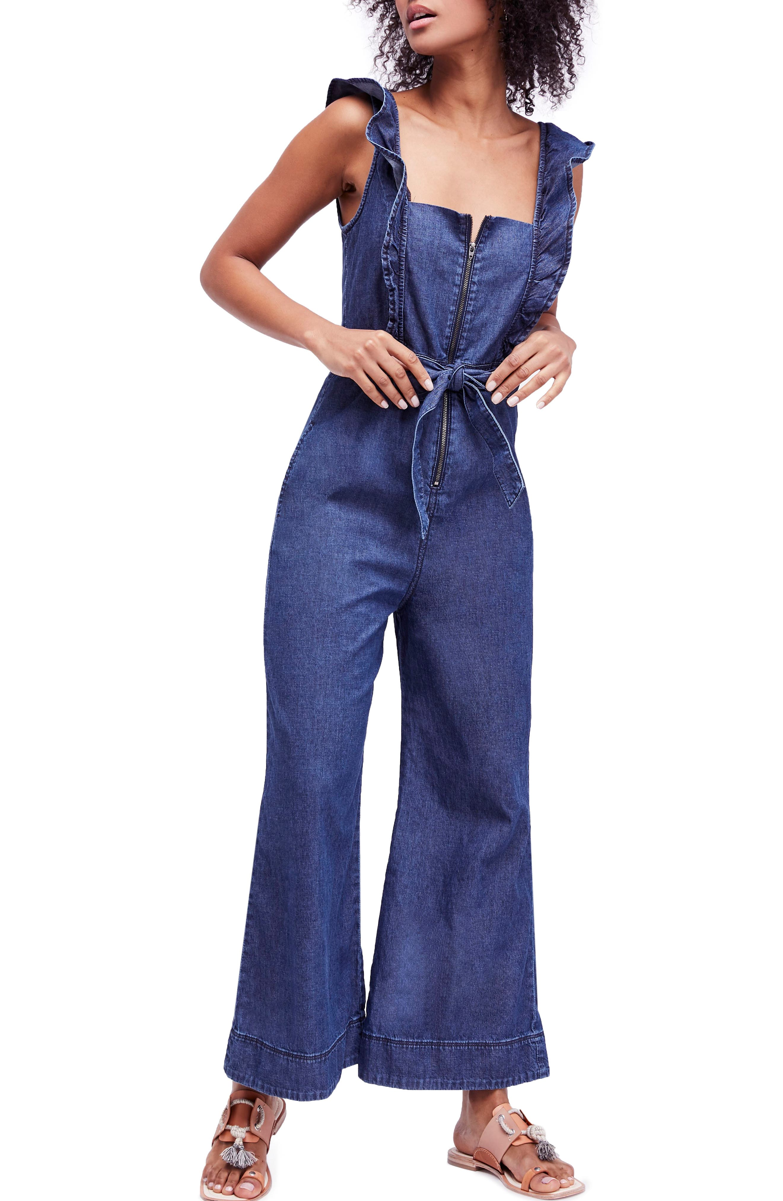 Sun Valley Jumpsuit,                             Main thumbnail 1, color,                             Dark Denim
