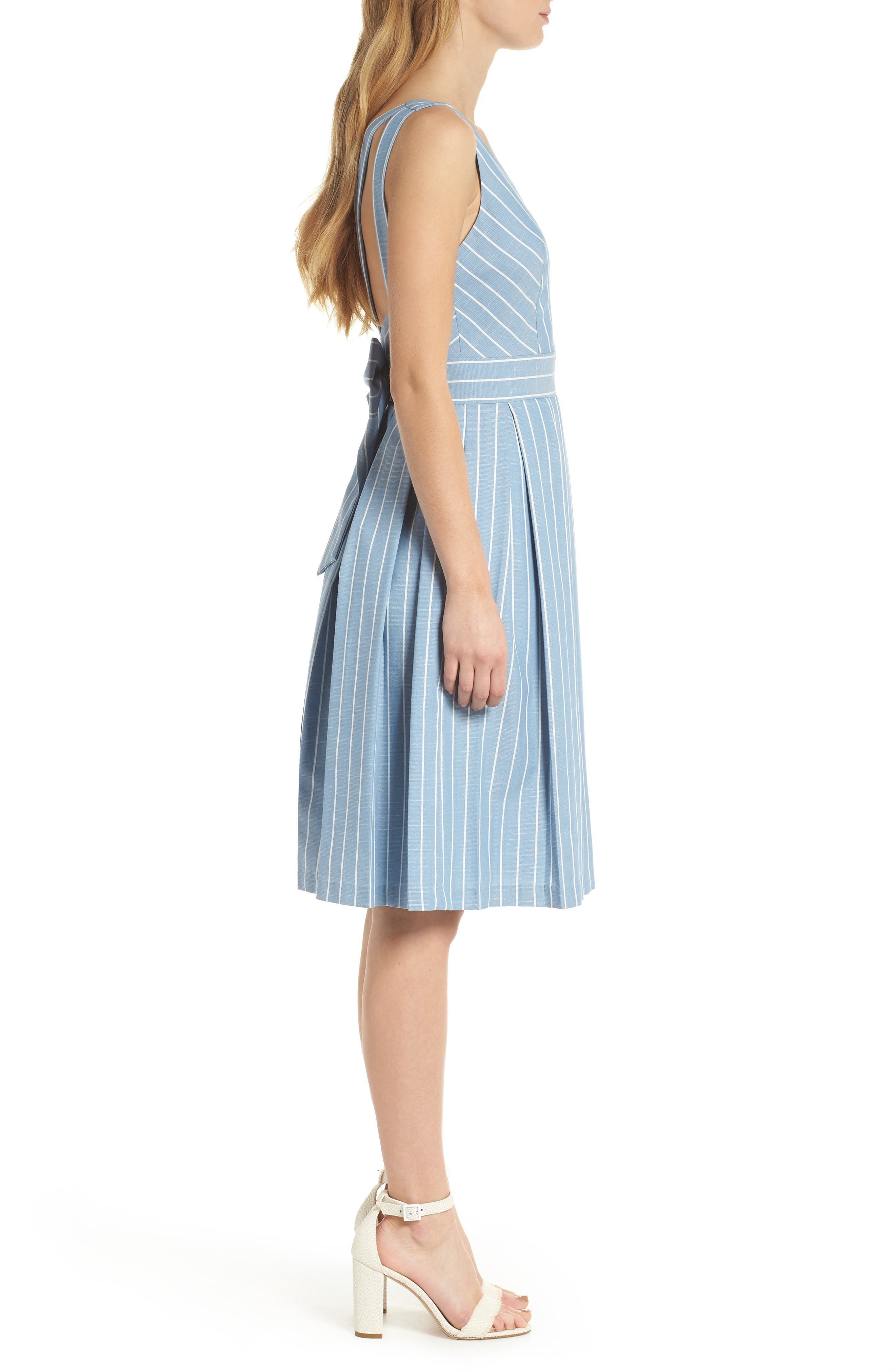 Alternate Image 4  - Gal Meets Glam Collection Samantha Slub Stripe Fit & Flare Dress