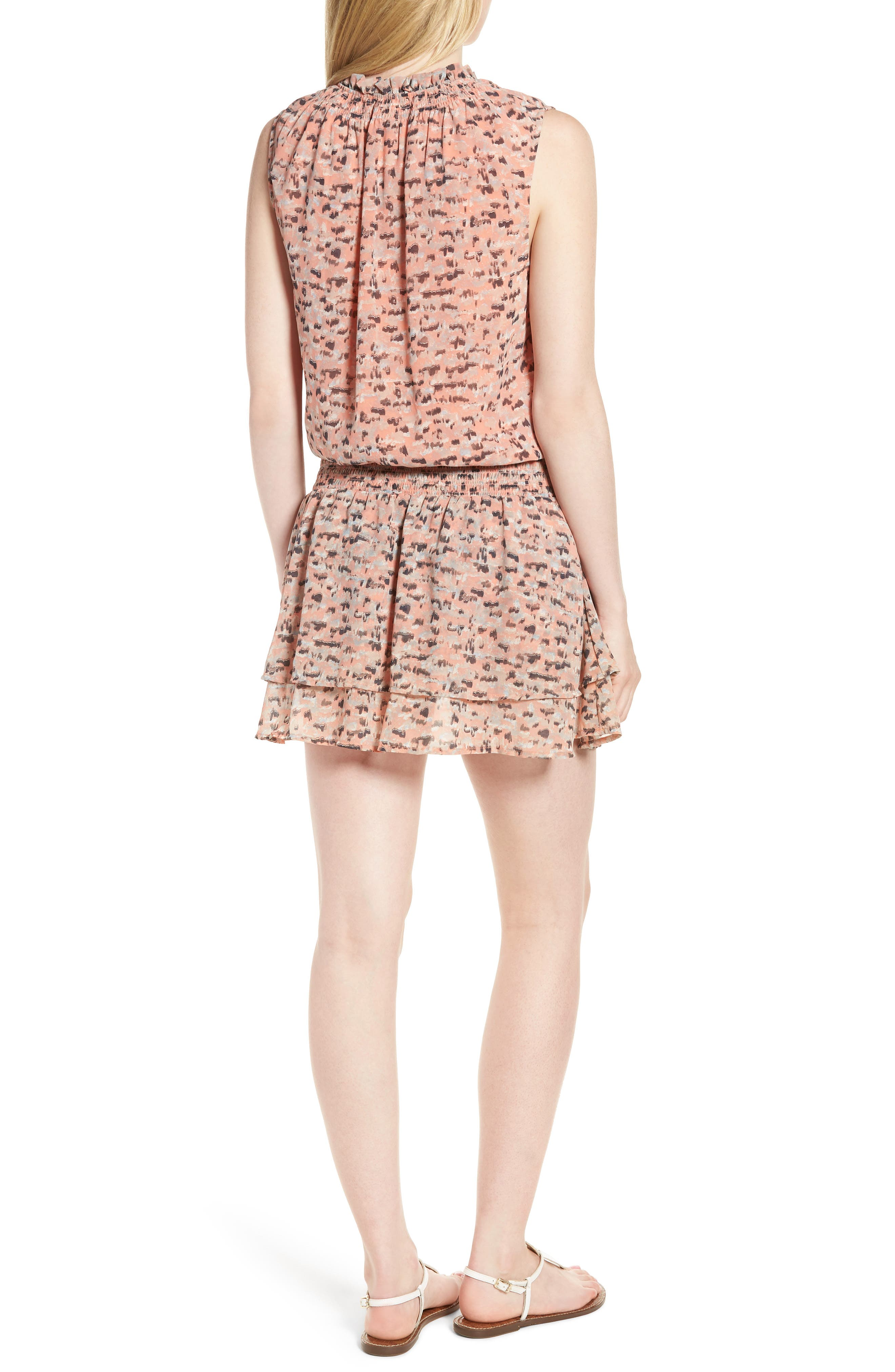 Printed Drop Waist Mini Dress,                             Alternate thumbnail 2, color,                             Pink Multi
