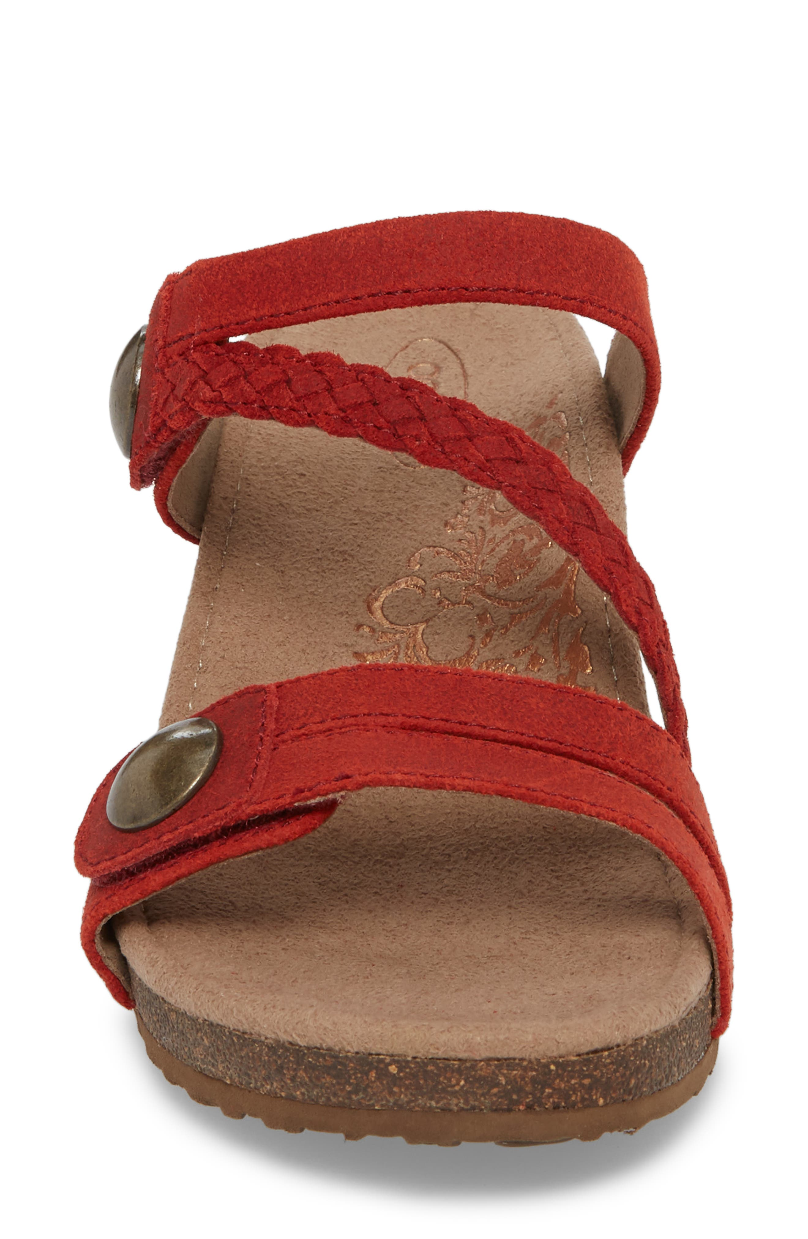 Lydia Strappy Wedge Sandal,                             Alternate thumbnail 4, color,                             Cayenne Leather