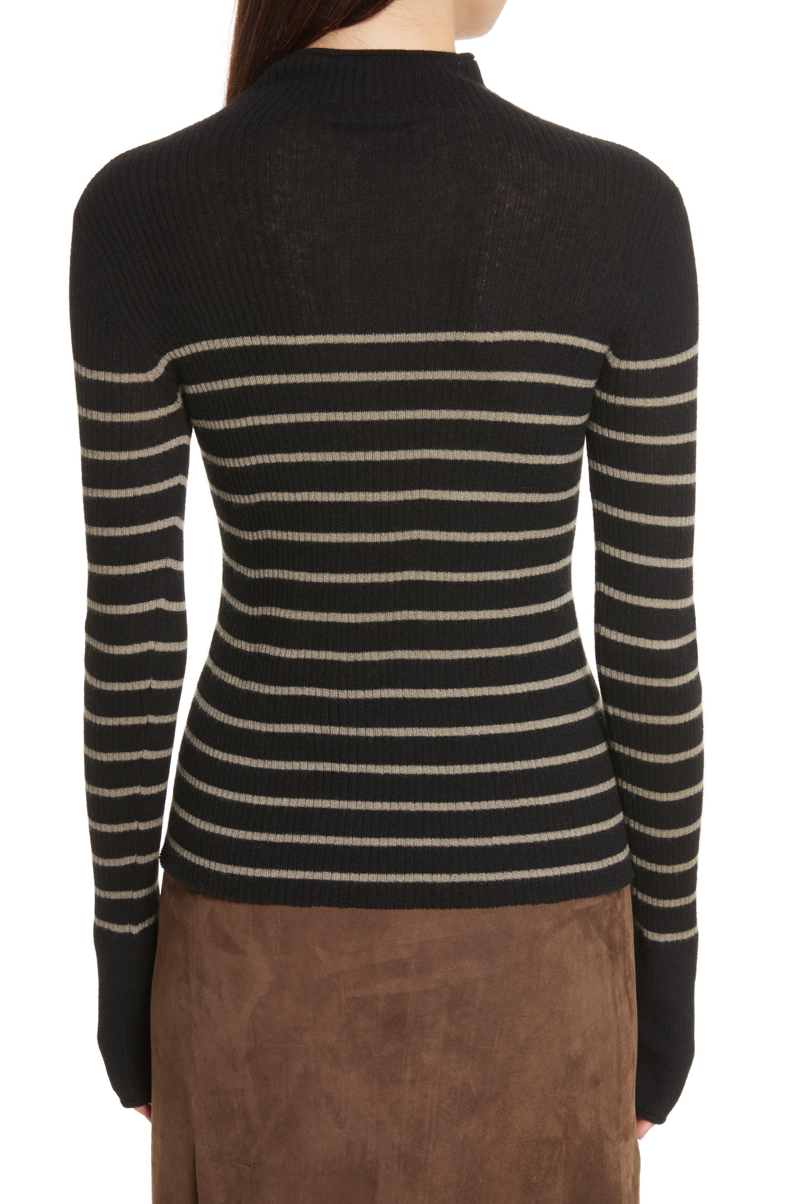 Stripe Ribbed Cashmere Sweater,                             Alternate thumbnail 2, color,                             Black/ Pebble Taupe