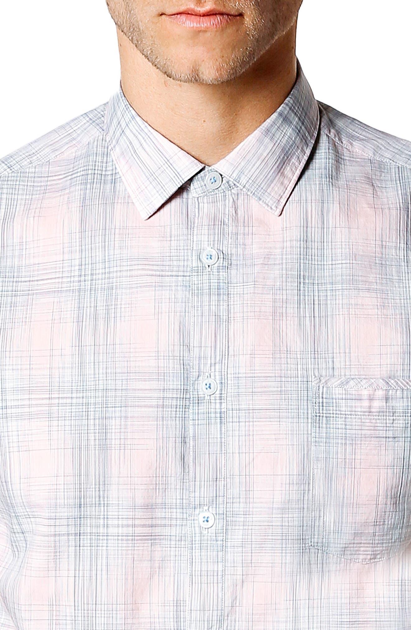 Trim Fit Short Sleeve Sport Shirt,                             Alternate thumbnail 4, color,                             Pink