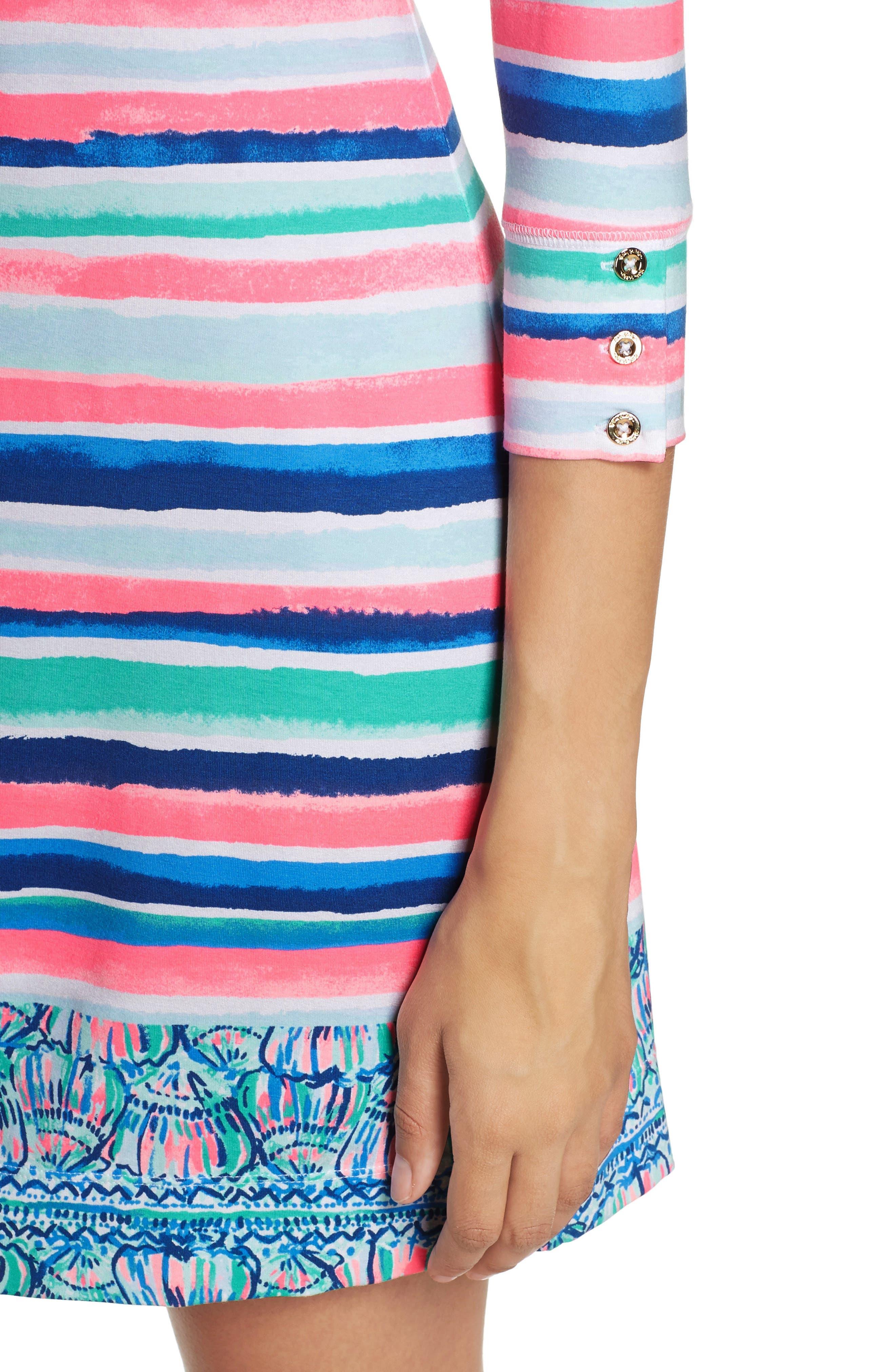 Sophie UPF 50+ Dress,                             Alternate thumbnail 4, color,                             Multi Sandy Shell Stripe