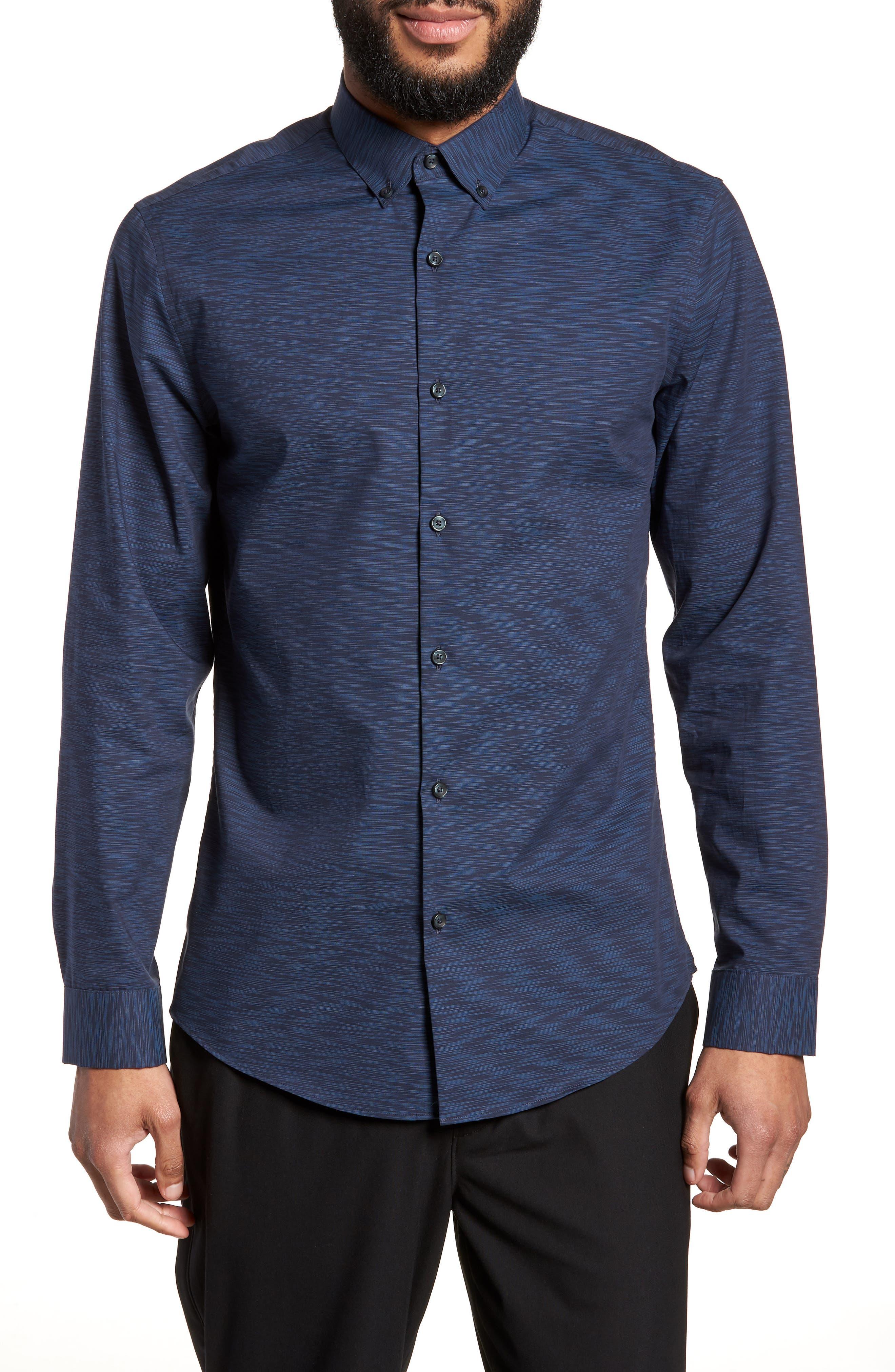 Trim Fit Solid Sport Shirt,                         Main,                         color, Navy Blue Space Dye
