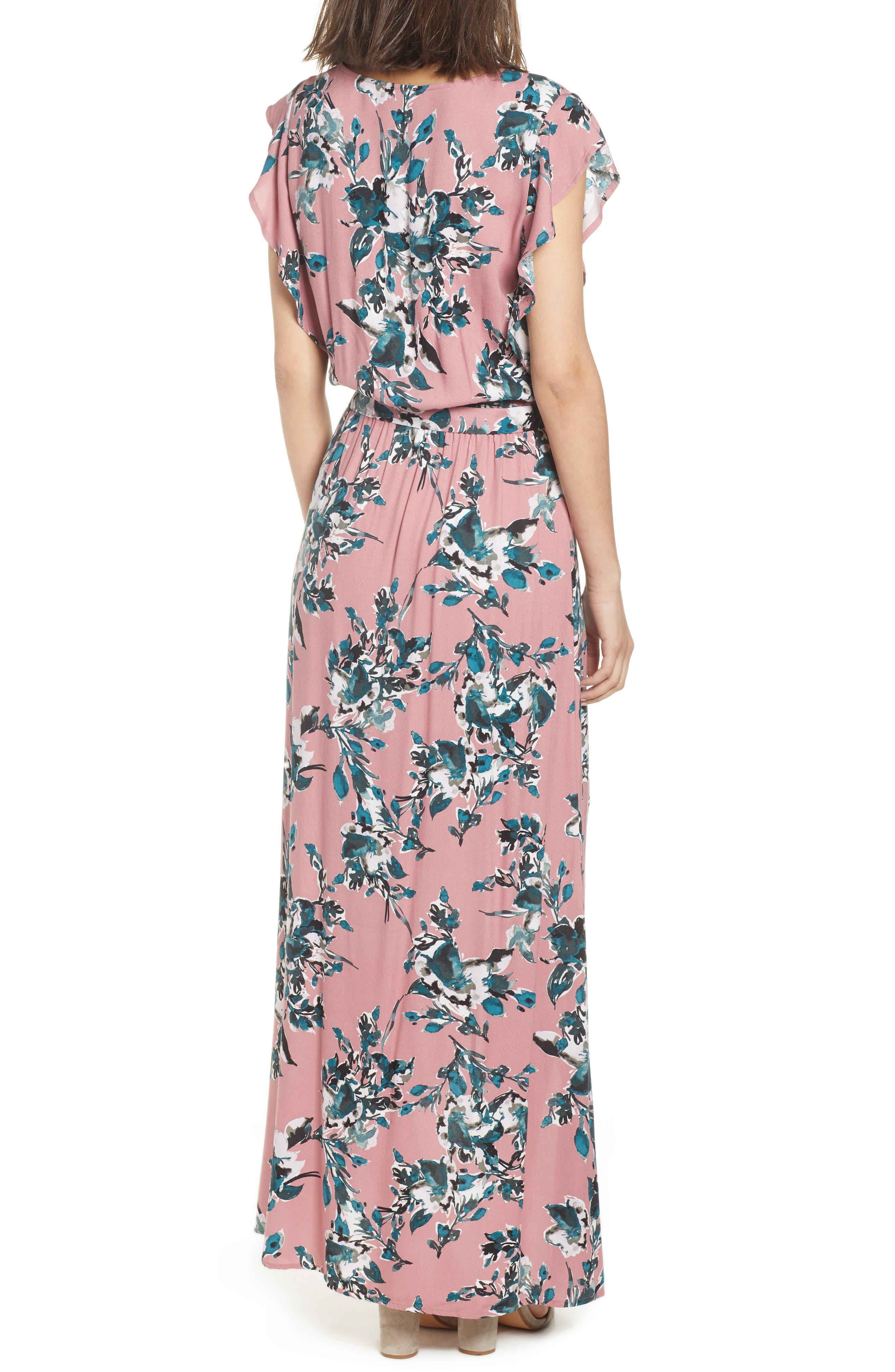 Floral Print Wrap Maxi Dress,                             Alternate thumbnail 2, color,                             Rose Dust