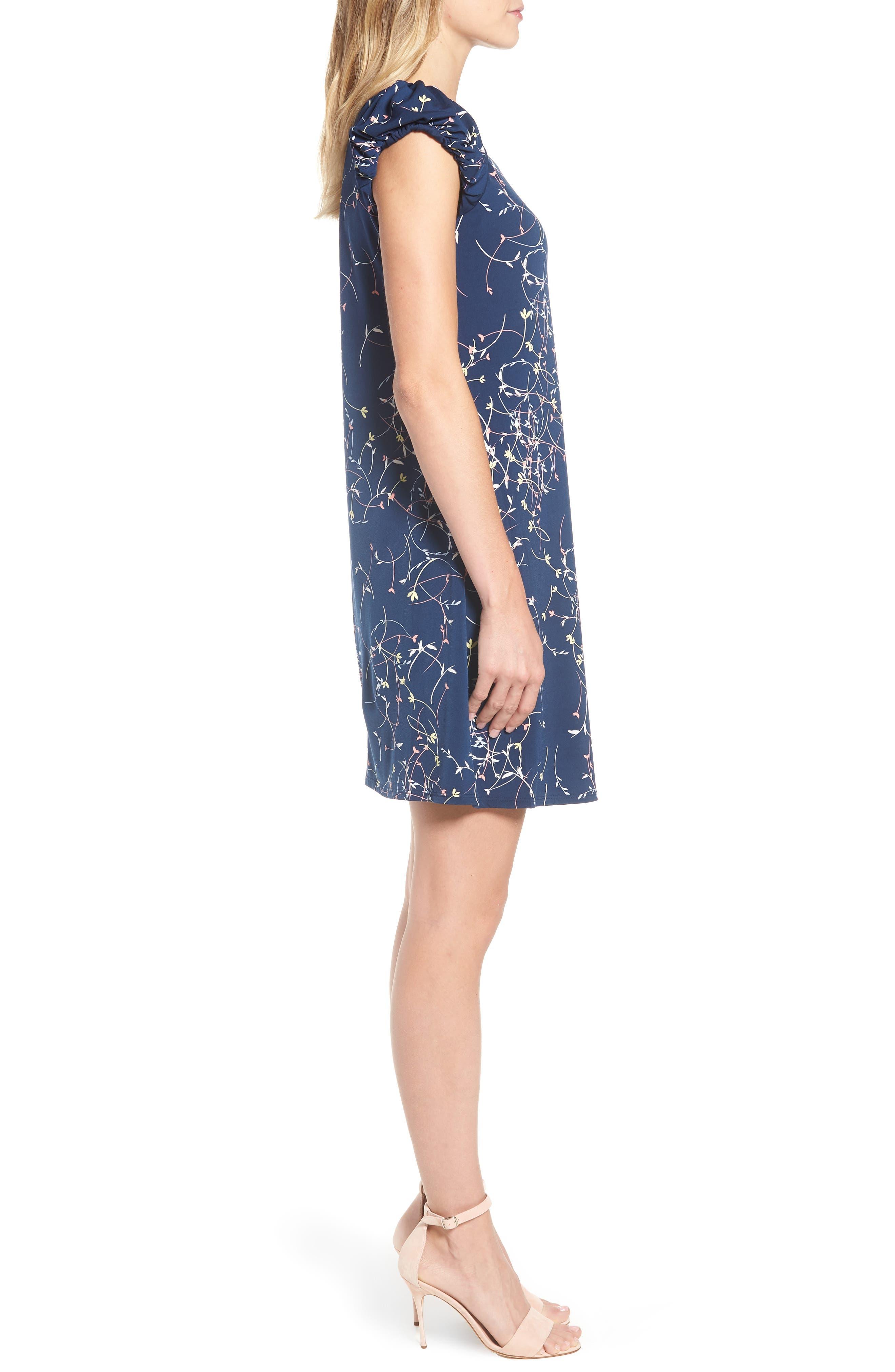 Ditsy Swirls Puffed Sleeve Dress,                             Alternate thumbnail 3, color,                             Naval Navy