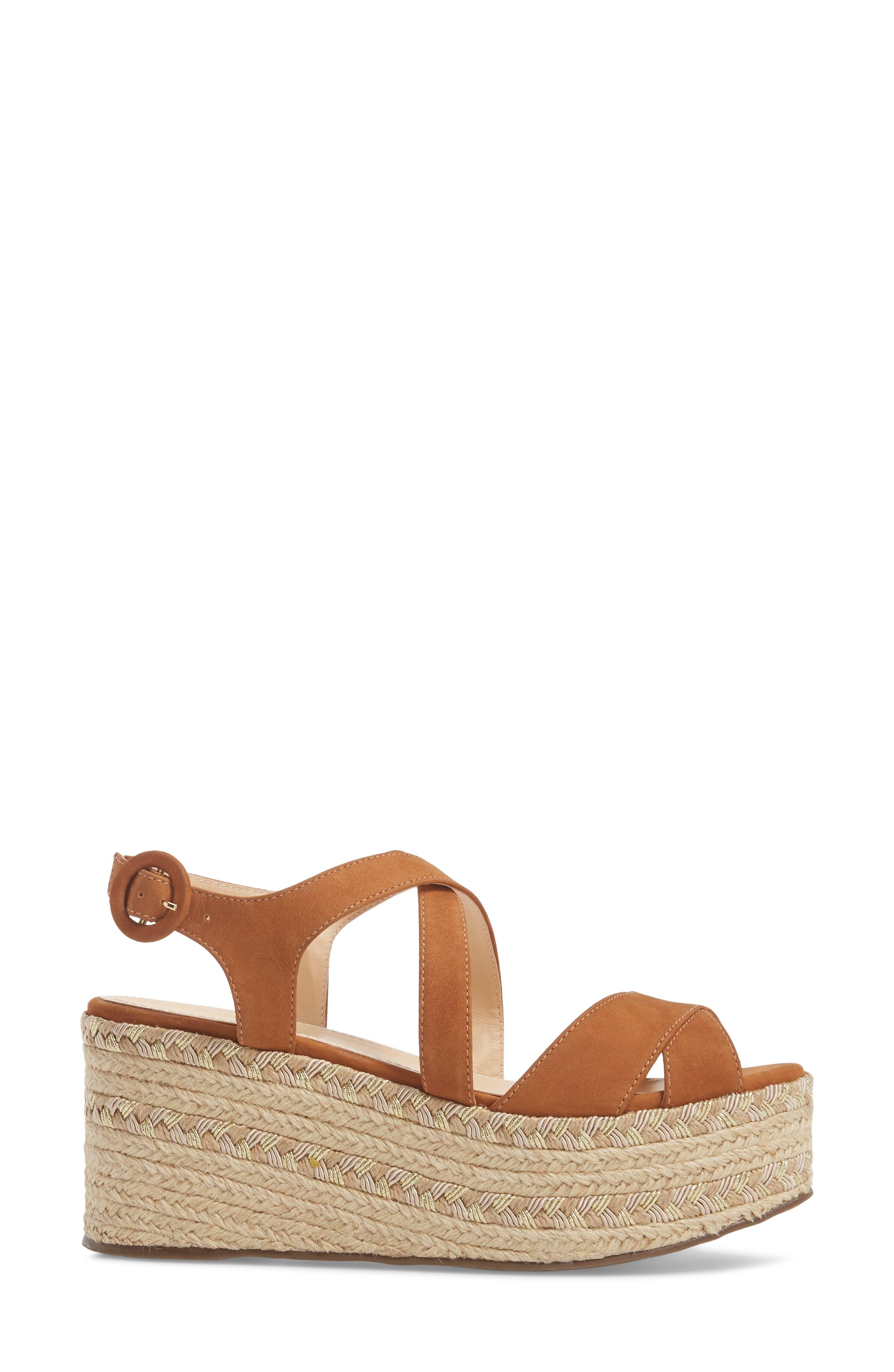 Vikki Espadrille Platform Sandal,                             Alternate thumbnail 3, color,                             Tan Leather