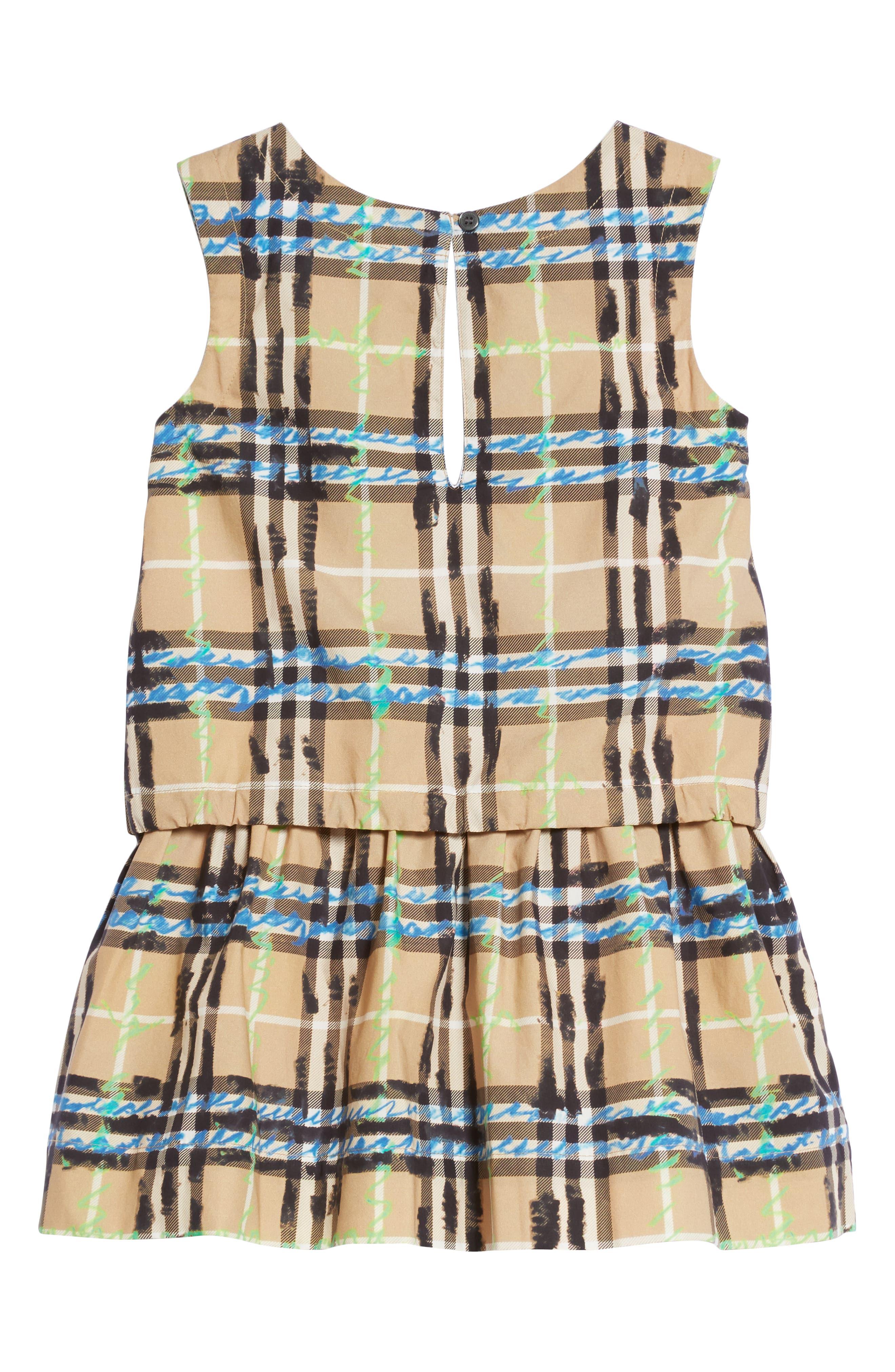Mini Mabel Scribble Check Dress,                             Alternate thumbnail 2, color,                             Bright Blue