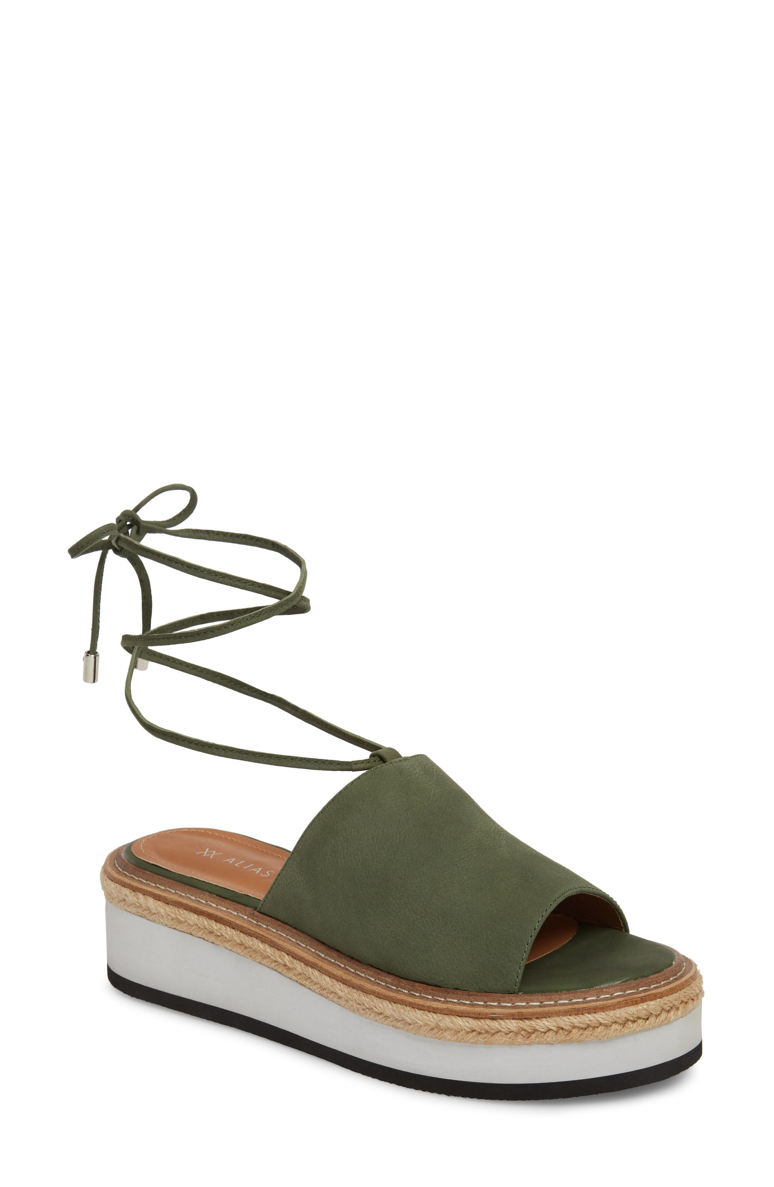 Nickel Platform Sandal,                             Main thumbnail 1, color,                             Khaki Nubuck Leather