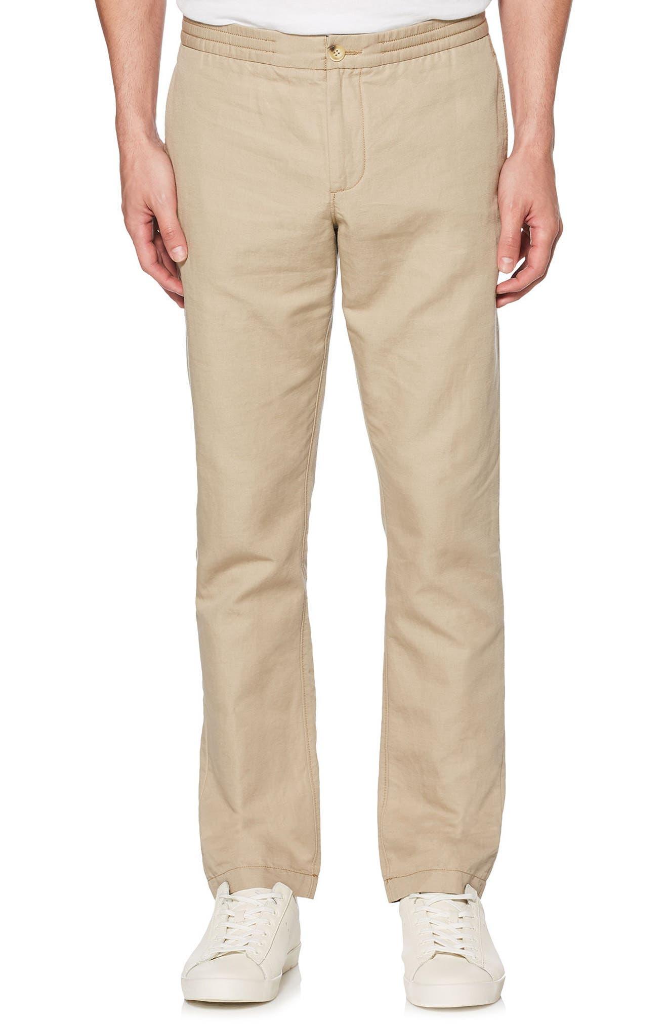 Linen Blend Pants,                         Main,                         color, Crockery