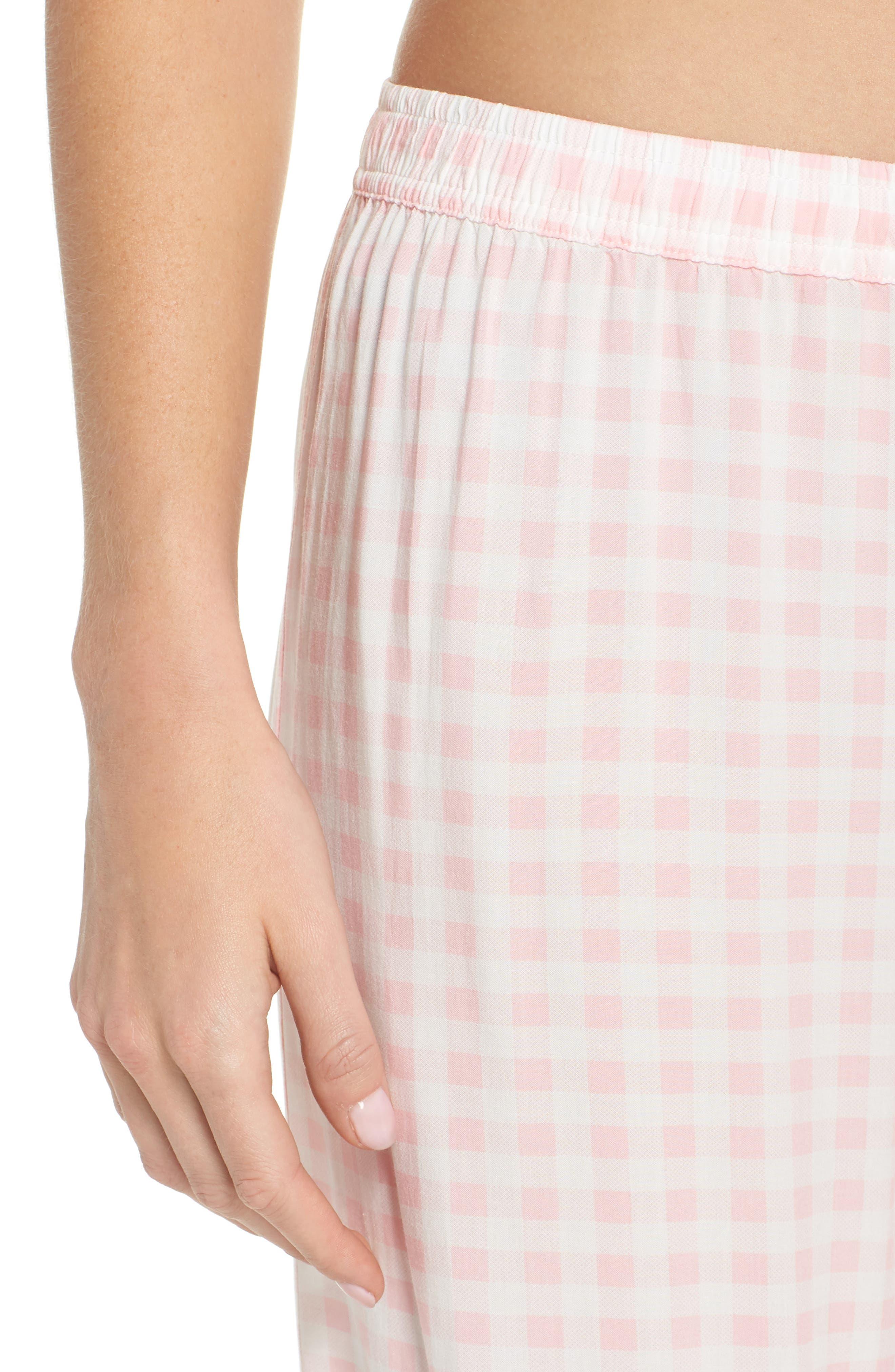 Gingham Pajama Pants,                             Alternate thumbnail 6, color,                             Pink