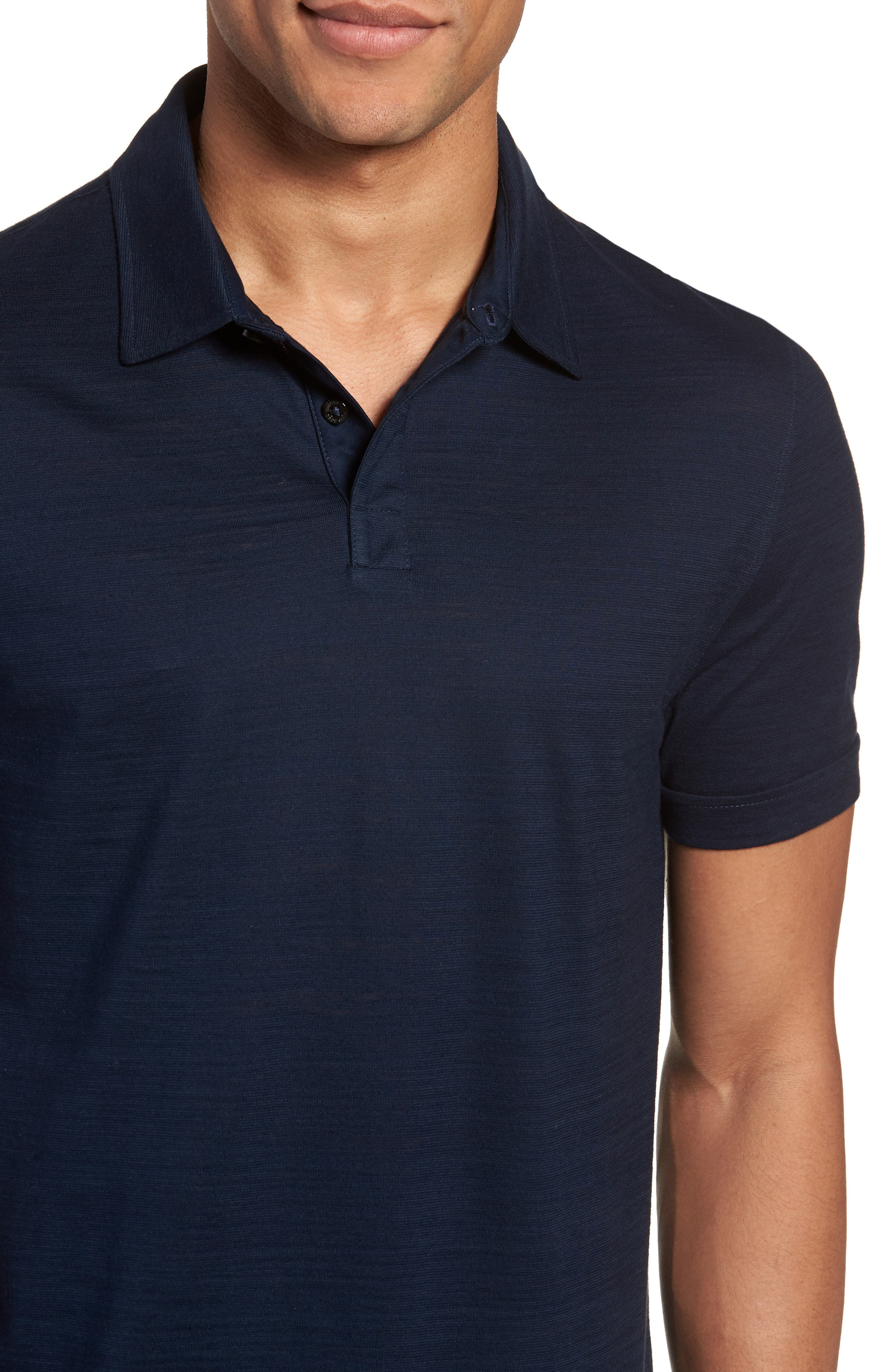 Press Flame Slim Fit Polo Shirt,                             Alternate thumbnail 4, color,                             Blue