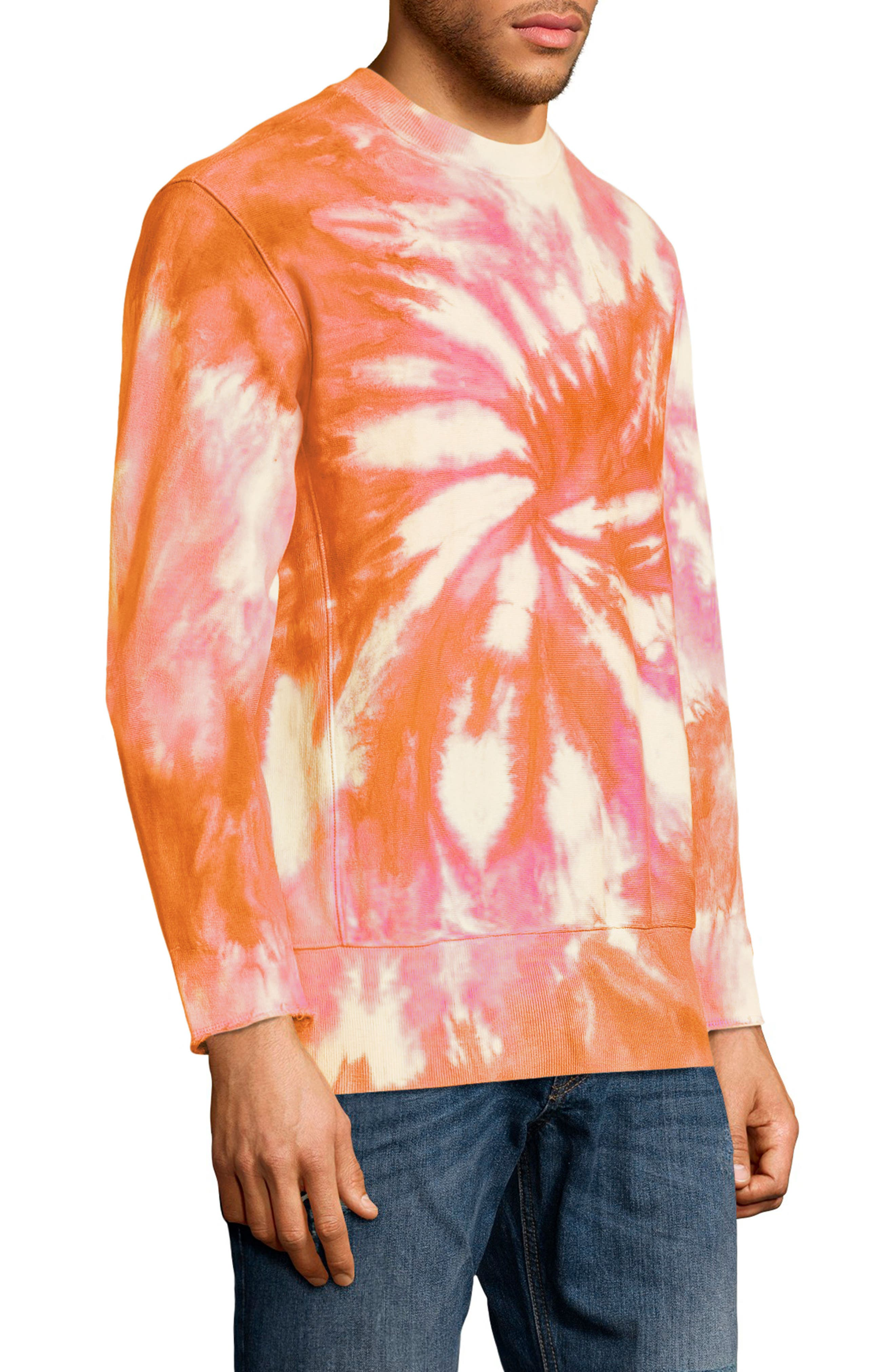 Reverse Weave Tie Dye T-Shirt,                             Alternate thumbnail 3, color,                             Glazed Orange