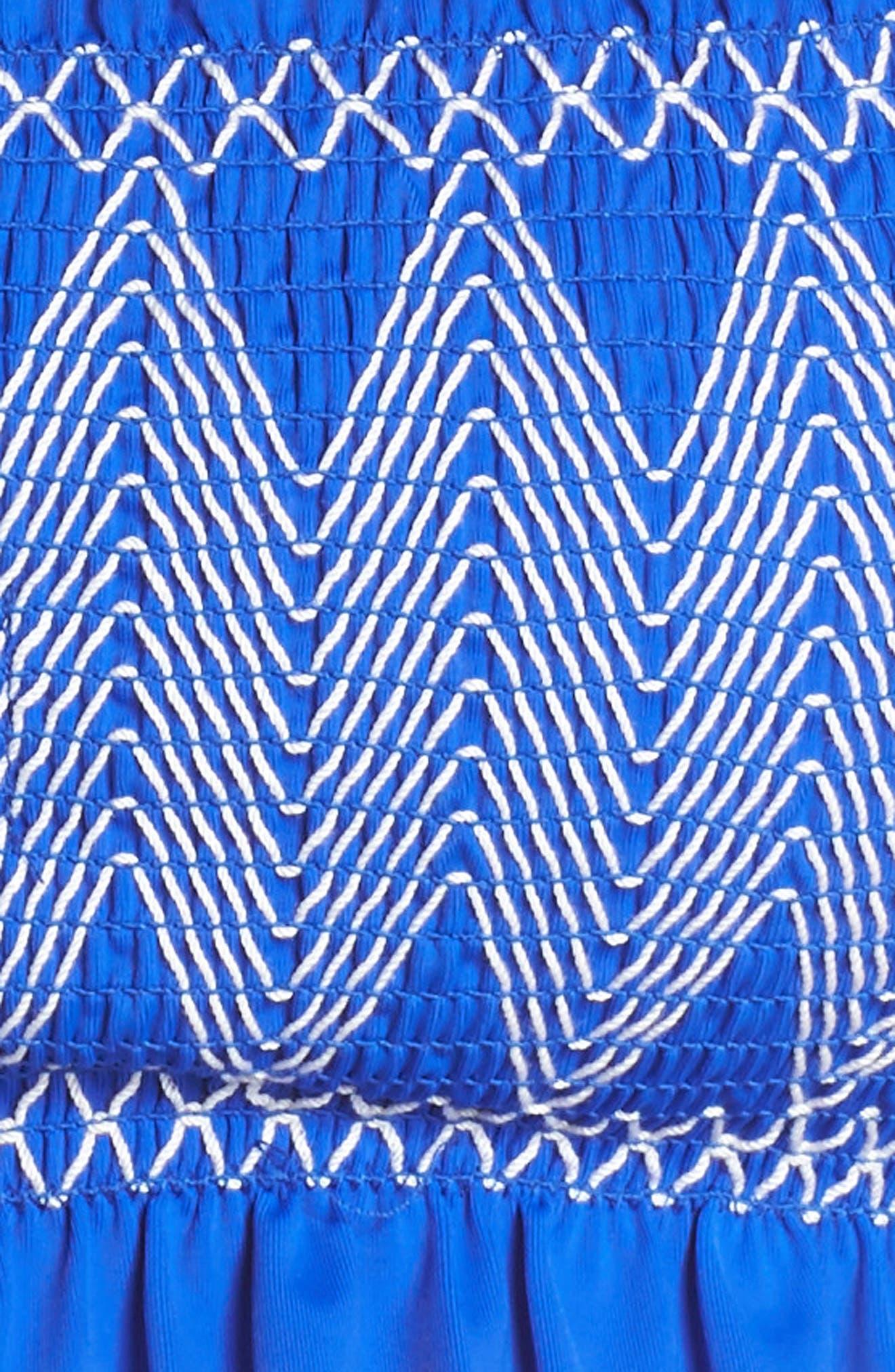 Smocked Bardot Bikini Top,                             Alternate thumbnail 8, color,                             Bright Blue