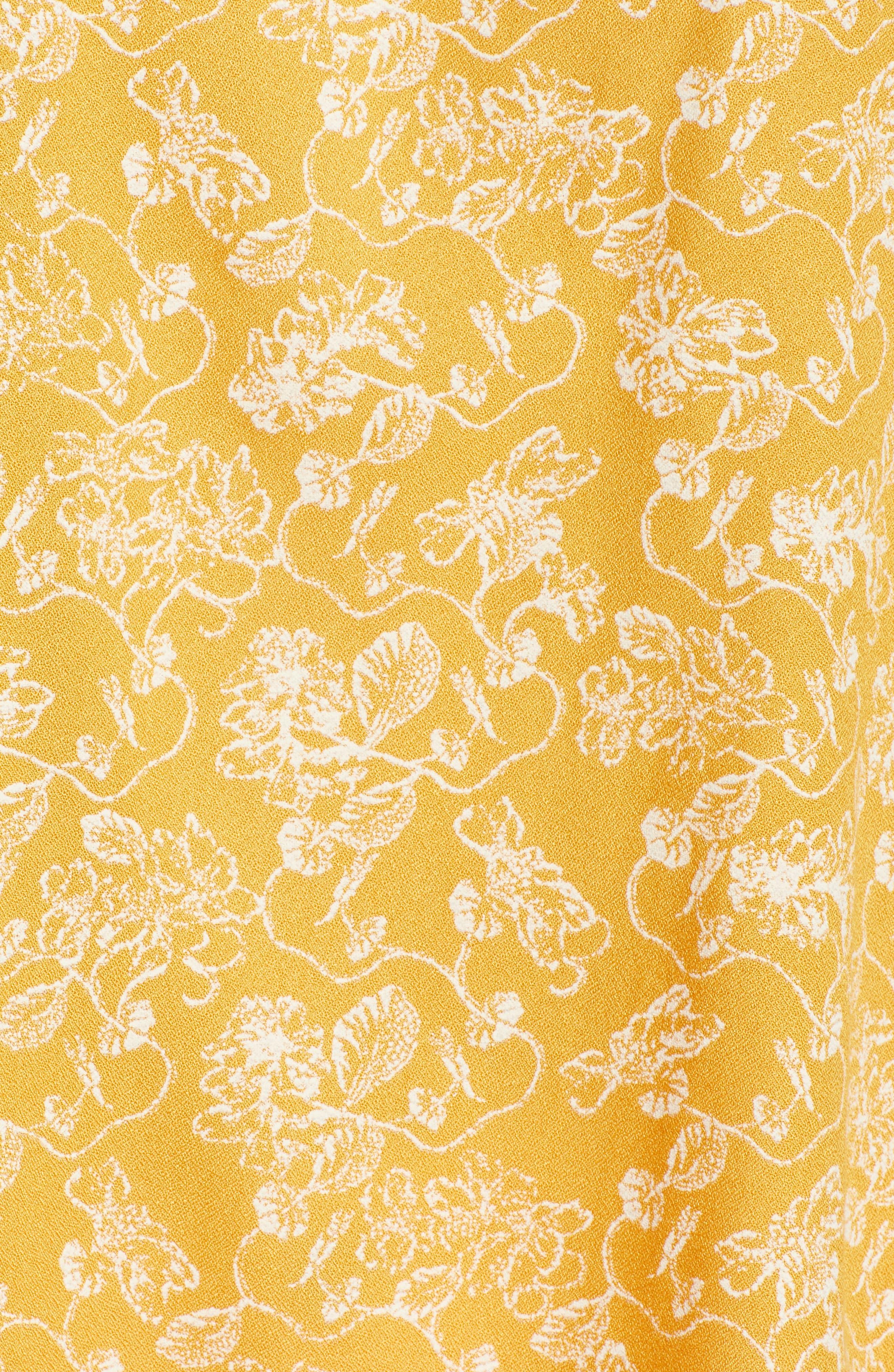 Split Neck Top,                             Alternate thumbnail 6, color,                             Yellow Gleam Floral Stencil