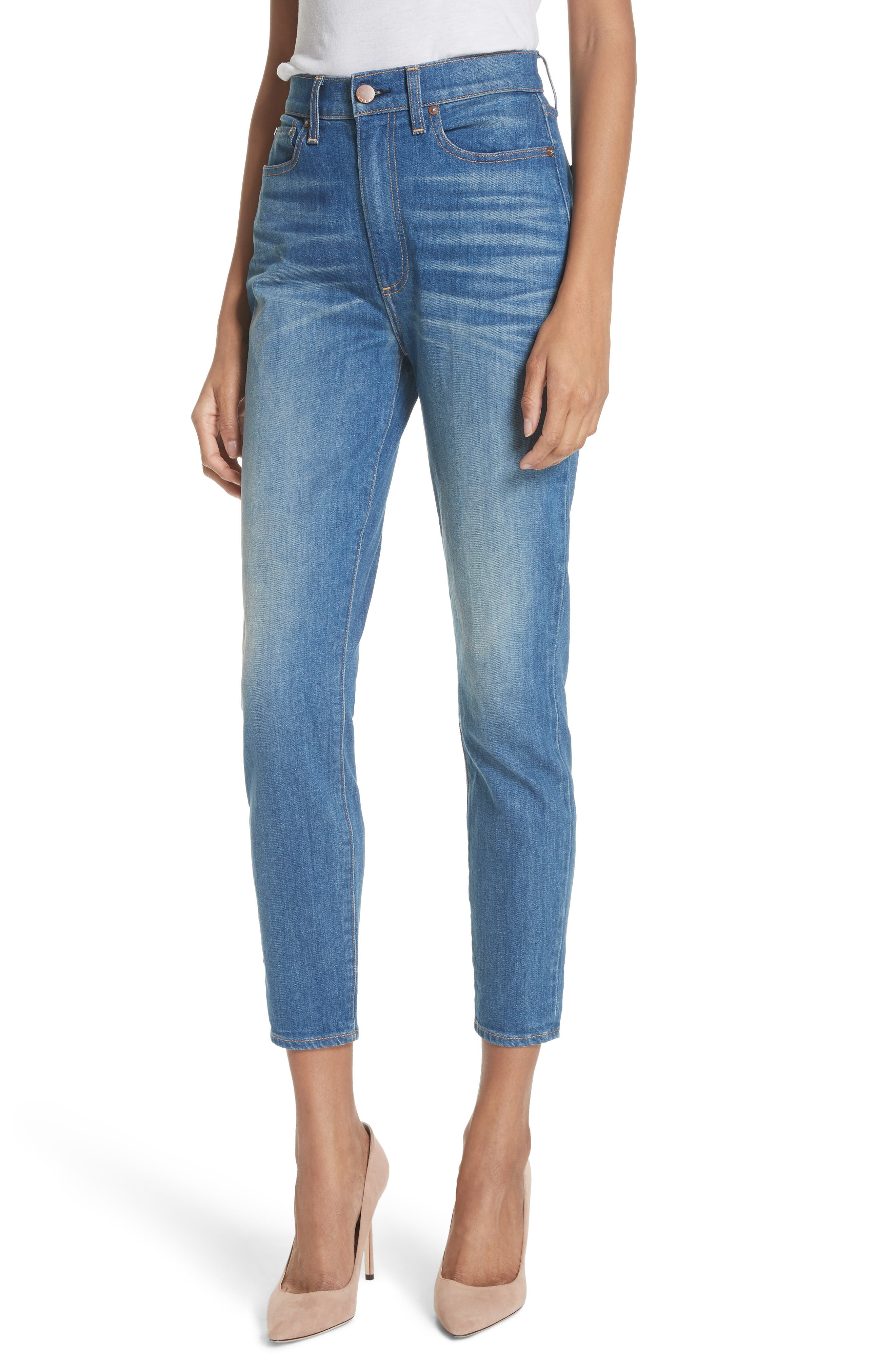 AO.LA Good High Waist Ankle Skinny Jeans,                             Main thumbnail 1, color,                             Side Hustle