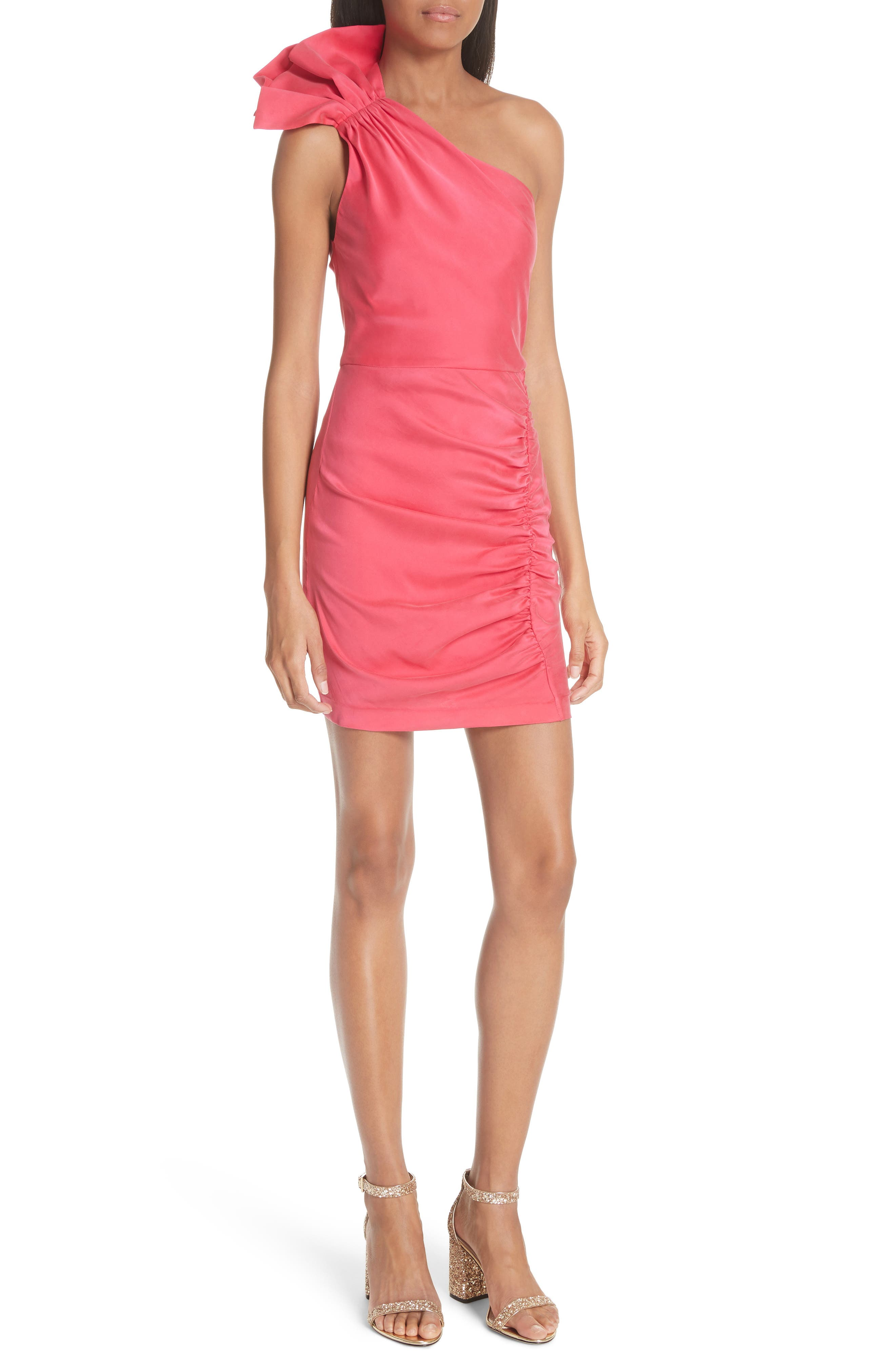 Malita One-Shoulder Fitted Mini Dress,                             Main thumbnail 1, color,                             Watermelon