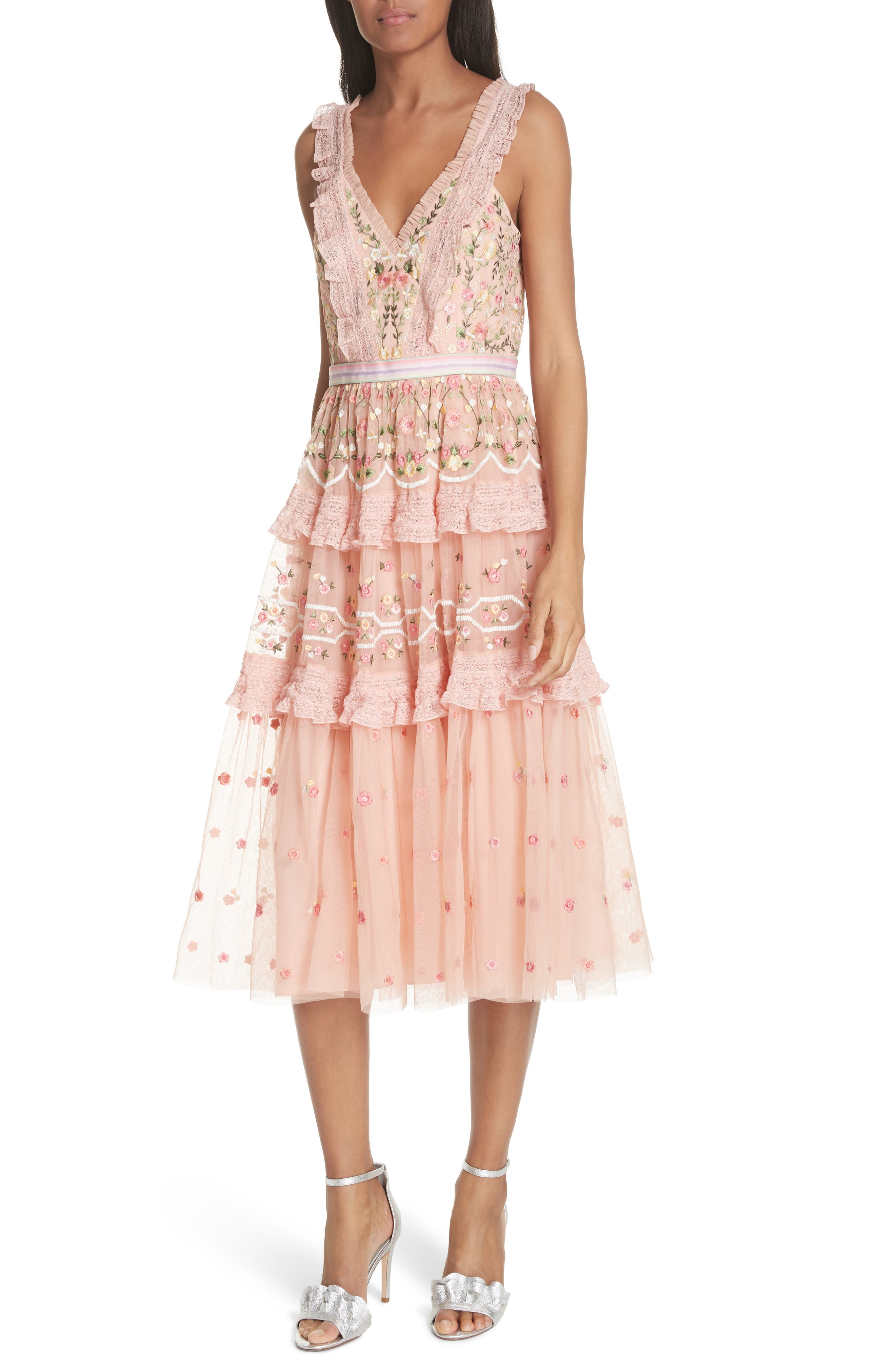 Lattice Rose Tiered Midi Dress,                             Main thumbnail 1, color,                             Coral
